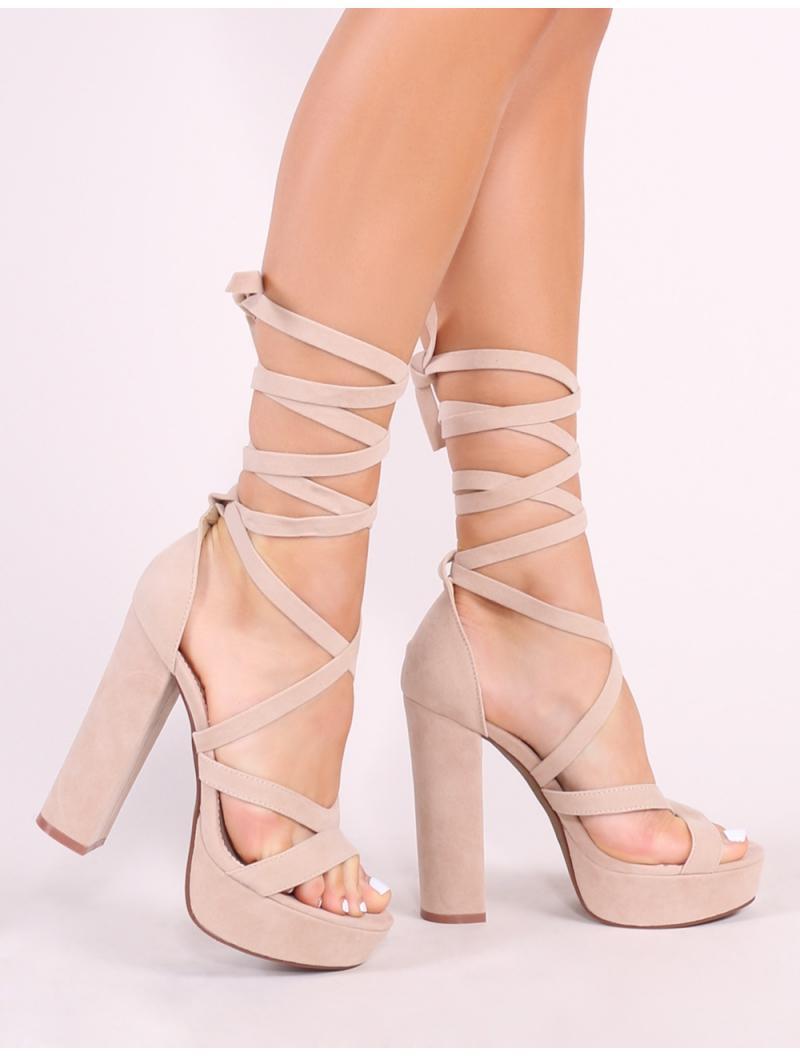 d2afa7b8519c Public Desire. Women s Stella Lace Up Heels In Nude Faux Suede
