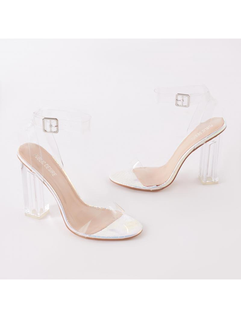 5e7a2e5fdd5 Public Desire Alia Strappy Perspex High Heels In Iridescent With ...