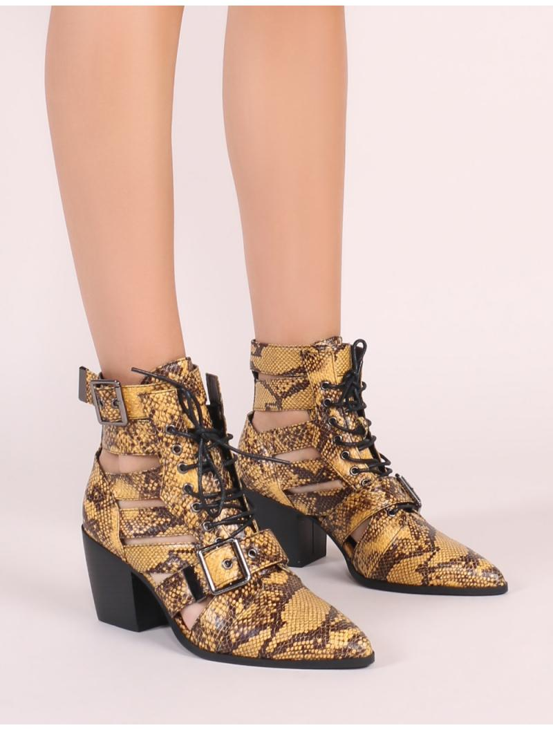 a7072bfa35c Public Desire - Zara Lace Up Ankle Boots In Yellow Snake Print - Lyst. View  fullscreen