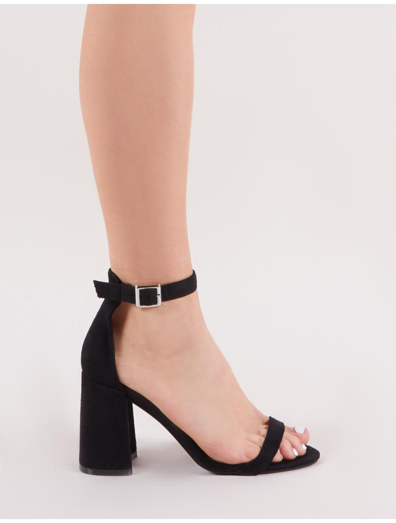 0b29a1f6645 Lyst - Public Desire Grier Block Heel Barely Theres In Black Faux ...