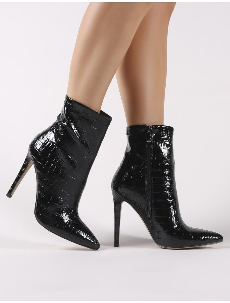 1106ccad2345 Public Desire Revive Pointy Ankle Boots In Black Croc in Black - Lyst