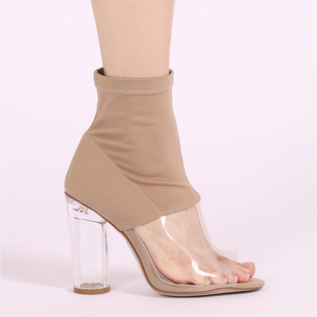 af829e28ffce Public Desire - Natural Cristal Perspex Detail Clear Heel Ankle Boots In  Nude Stretch - Lyst