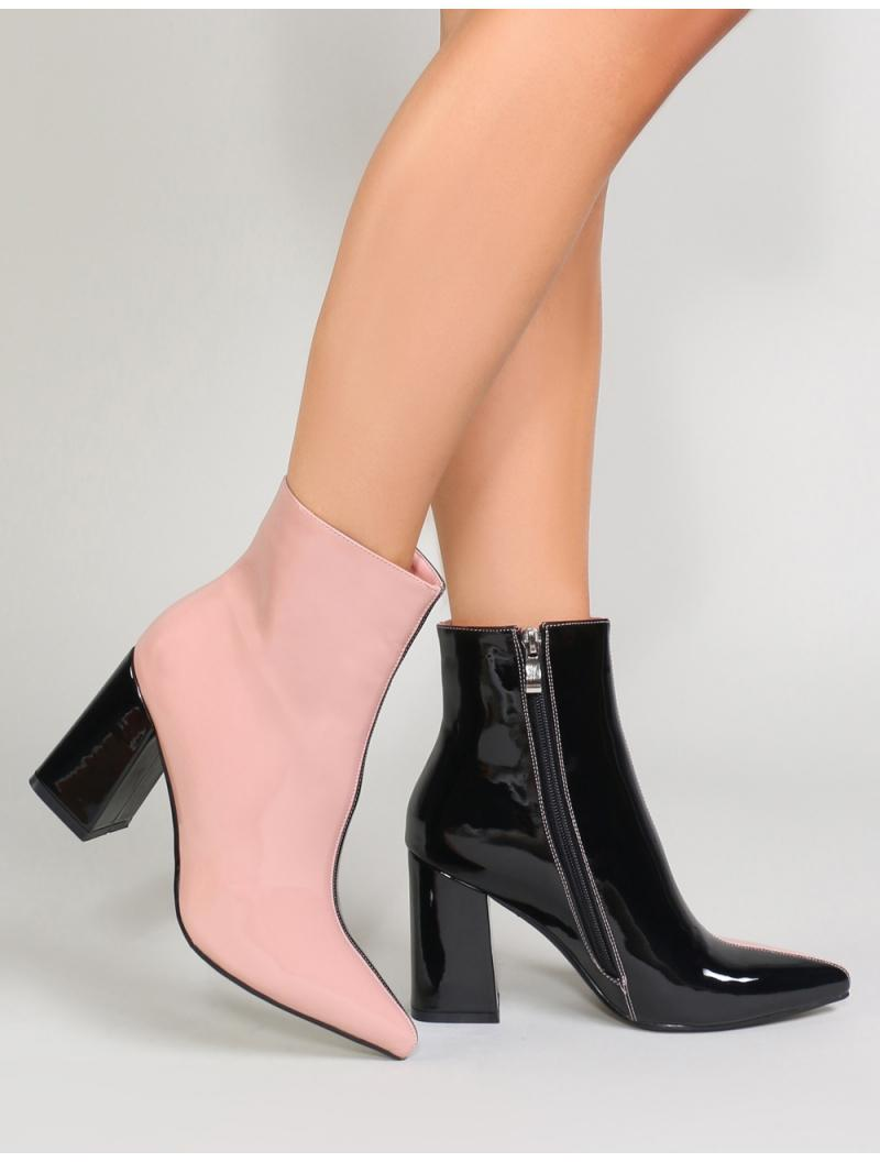 22bdde78b0ee Lyst - Public Desire Chaos Contrast Pointed Toe Ankle Boots In Black ...