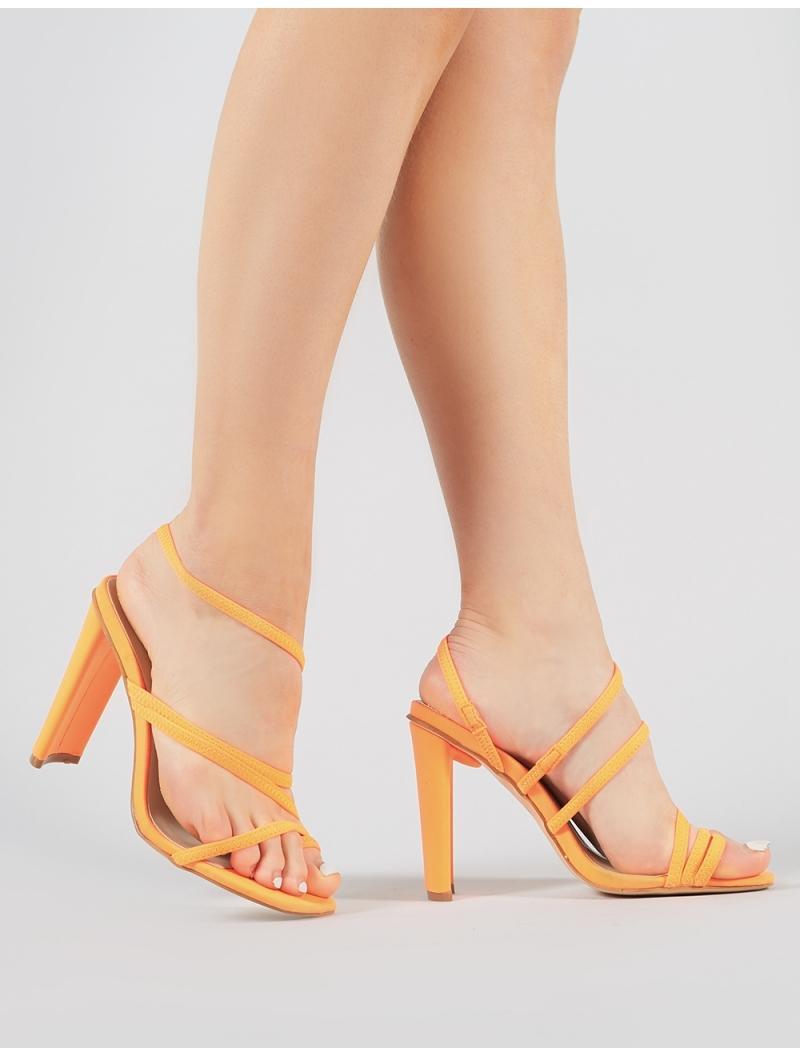 8632d917c74 Lyst - Public Desire Faze Strappy Heels In Neon Orange in Orange