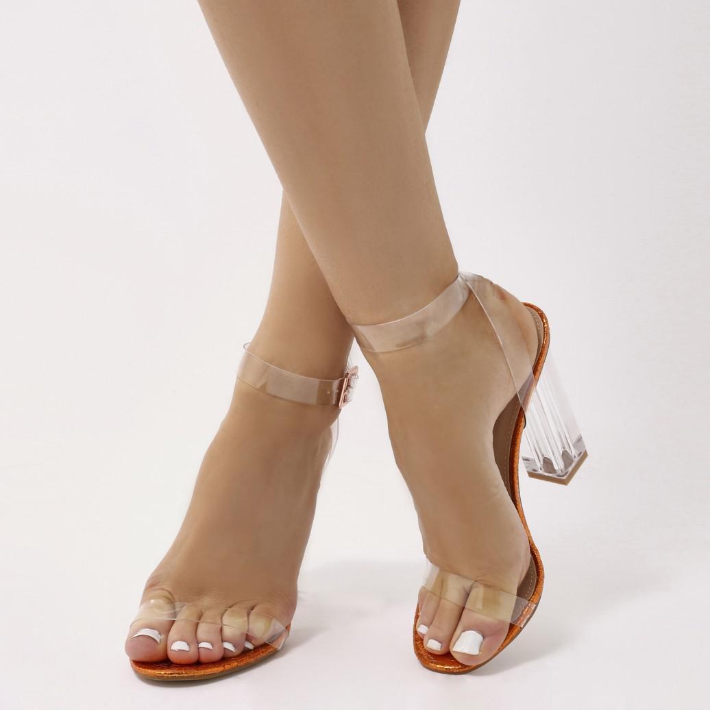 f5adf90d56e Lyst - Public Desire Alia Strappy Perspex High Heels In Orange ...