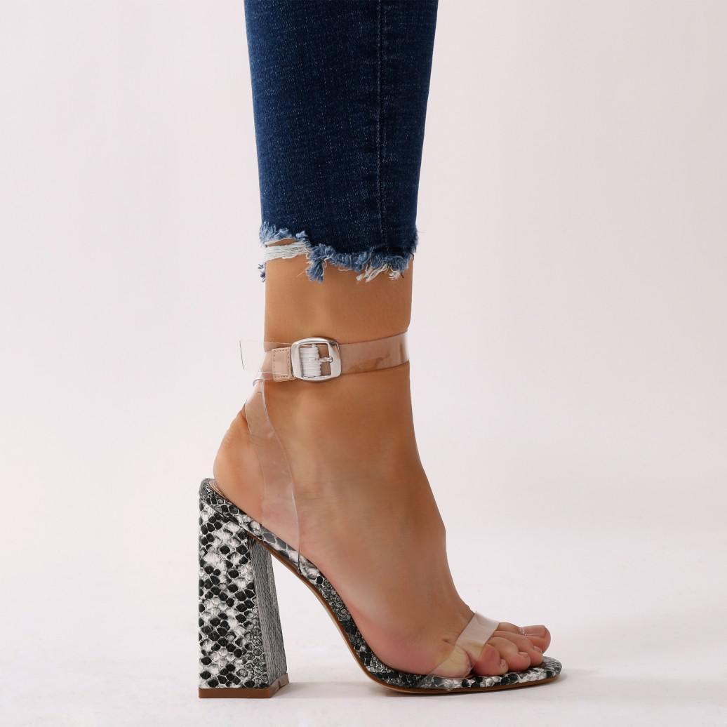 af303702c67 Lyst - Public Desire Charlotte Perspex High Heels In Grey Faux Snake ...