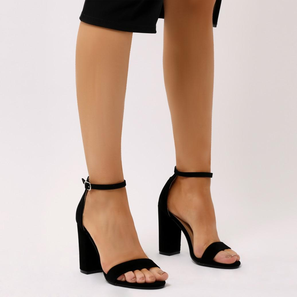 9993de11123 Public Desire Hester Block Heel Barely There In Black Faux Suede in ...