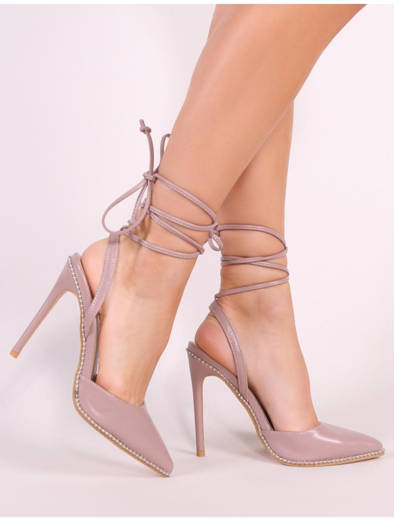 23358e3cabe Lyst - Public Desire Qween Stud Lace Up Court Heels In Blush Pink in ...