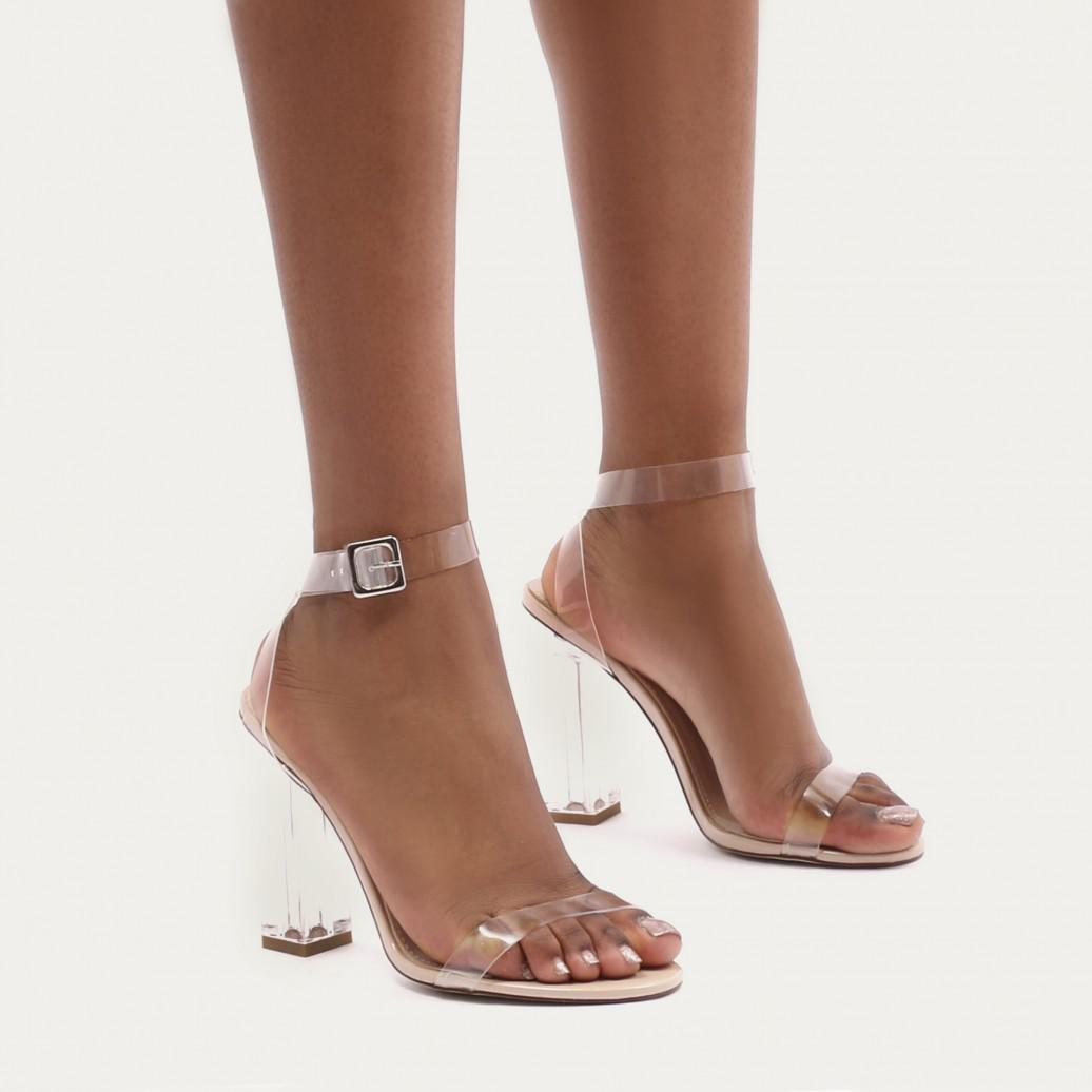 Public Desire Tonic Buckled Clear Perspex Heels in JszLtJh