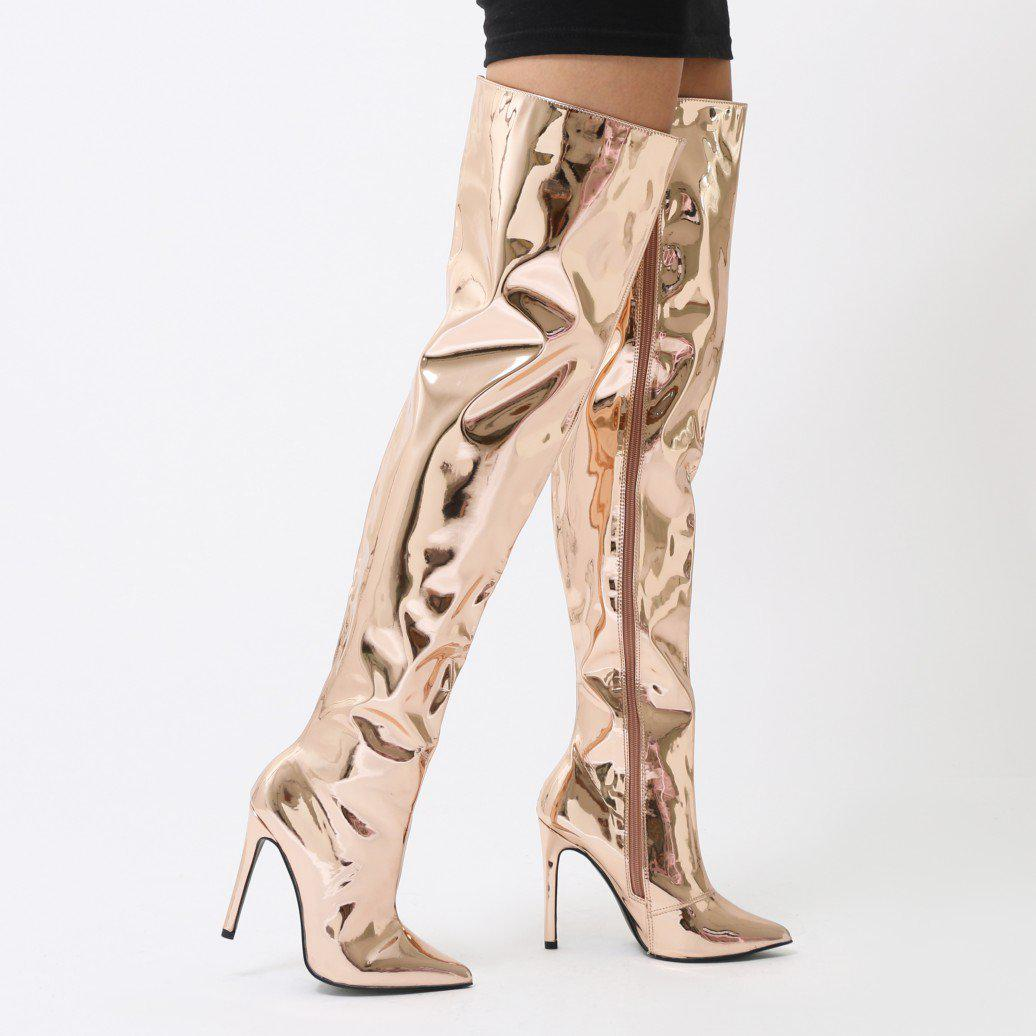 0087dc07fff Lyst - Public Desire Poison Over The Knee Foil Boots In Rose Gold ...