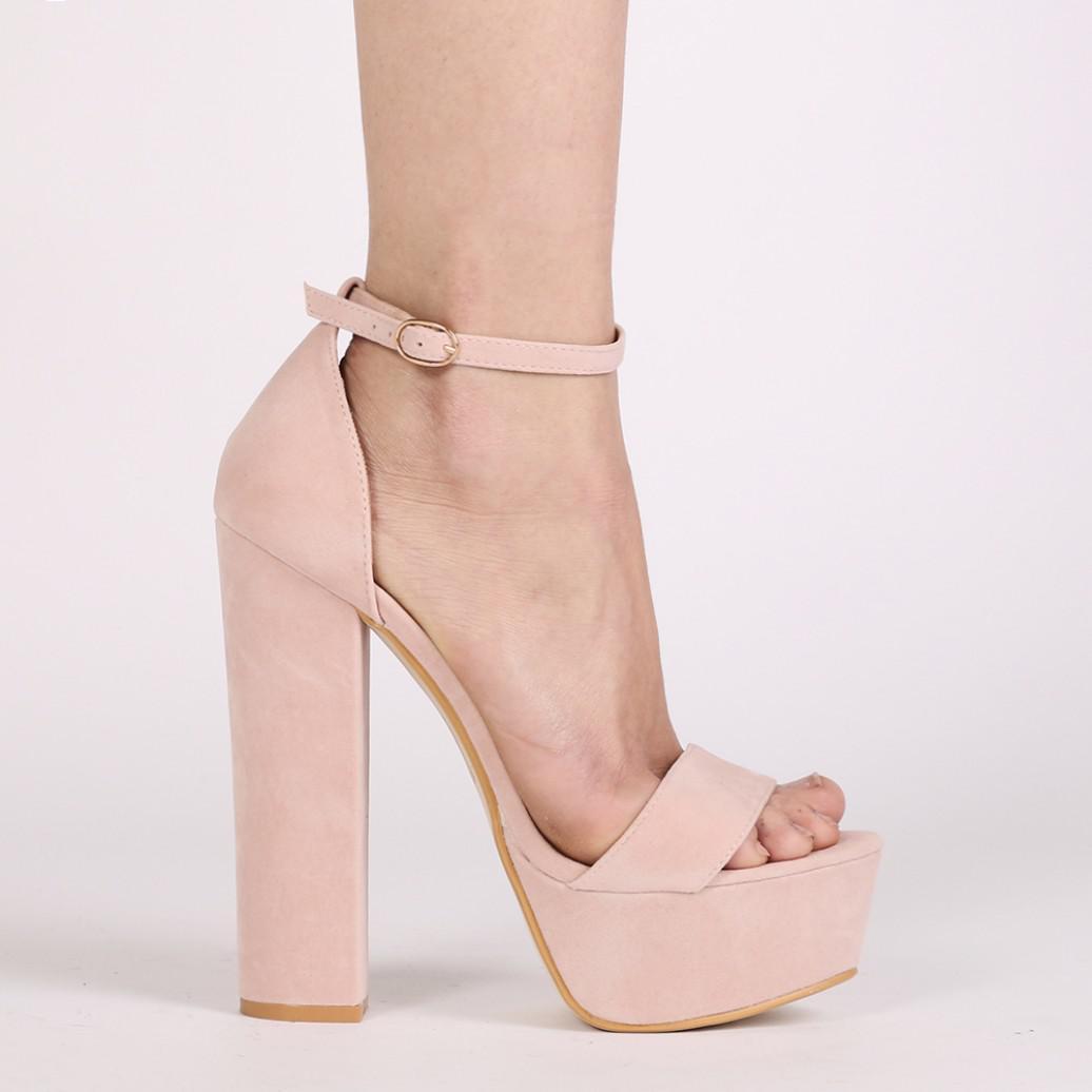 a2a8026ab7e5 Lyst - Public Desire Bryn Platform High Heels In Blush Pink Faux Suede