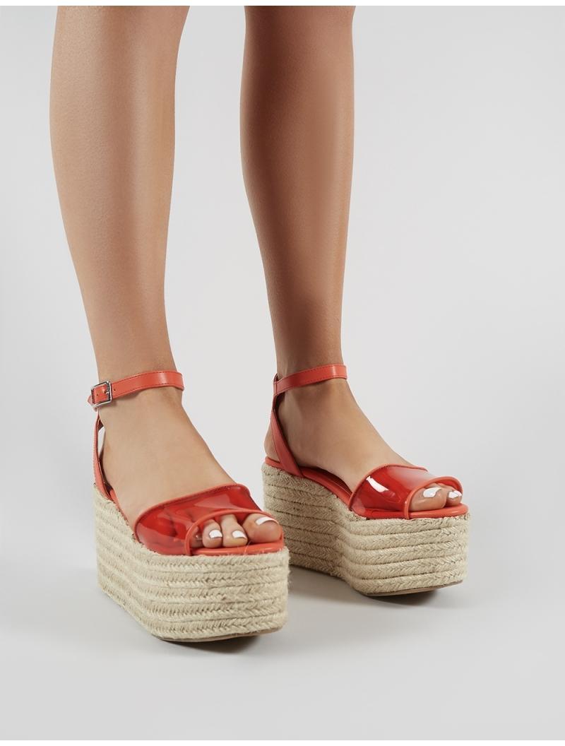 51dfb1fb24a Public Desire Tarini Perspex Espadrille Flatform Sandals In Red in ...