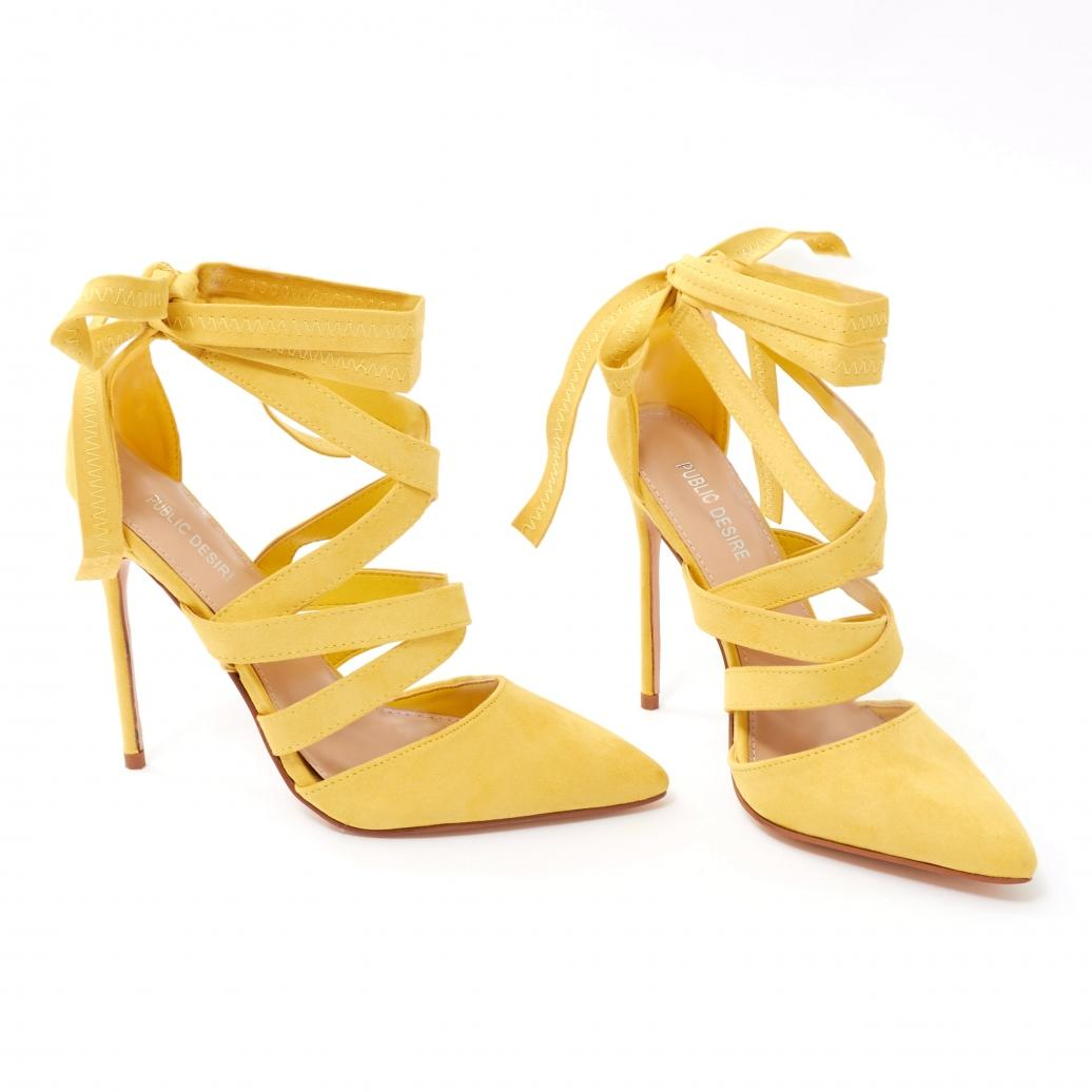 f4aa304cefc Public Desire Blake High Heels In Yellow Faux Suede in Yellow - Lyst