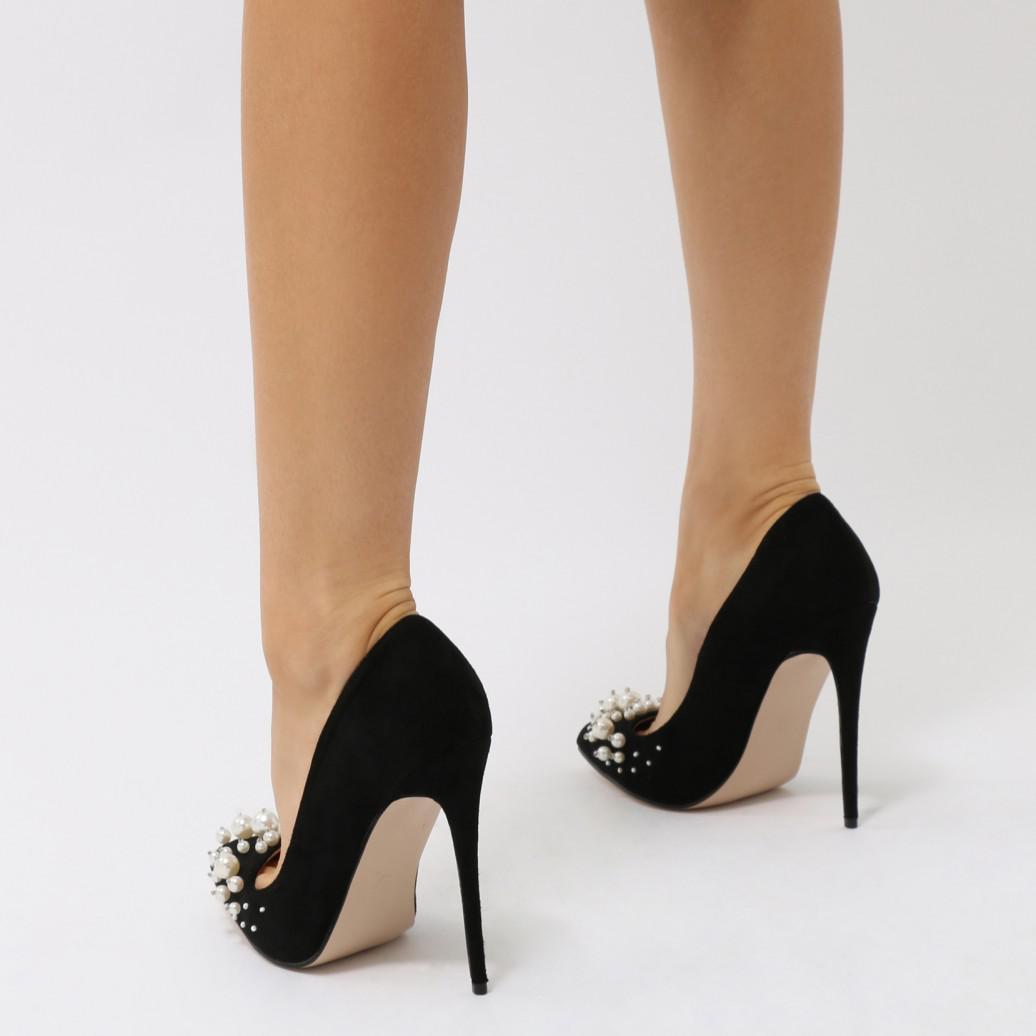 b483cbd4625e Public Desire Mayfair Pearl Pointed Toe Stiletto Heels In Black Faux ...