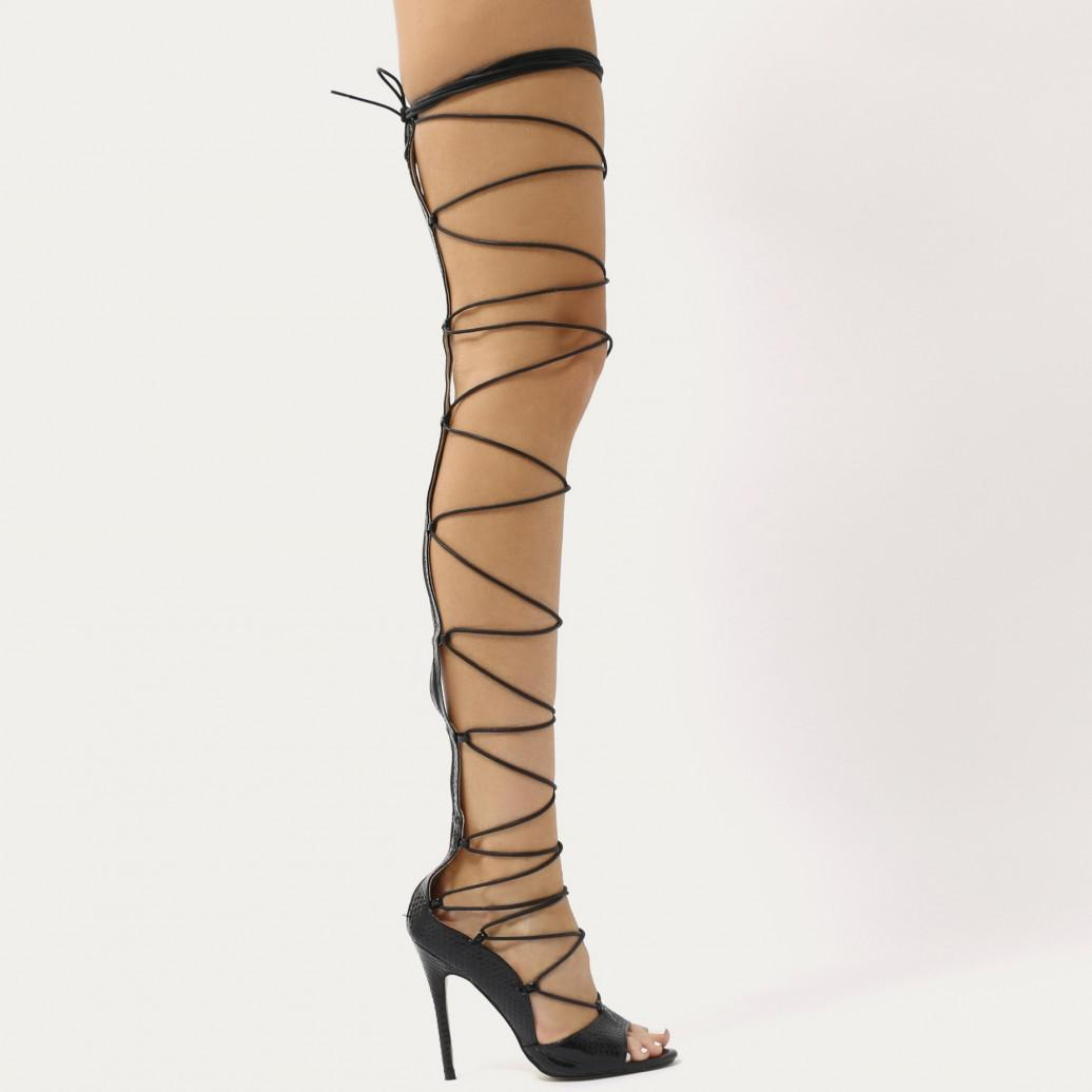 Kiss Black Lace Up Knee High Heels - Black faux snake Public Desire y0CaBGBVy