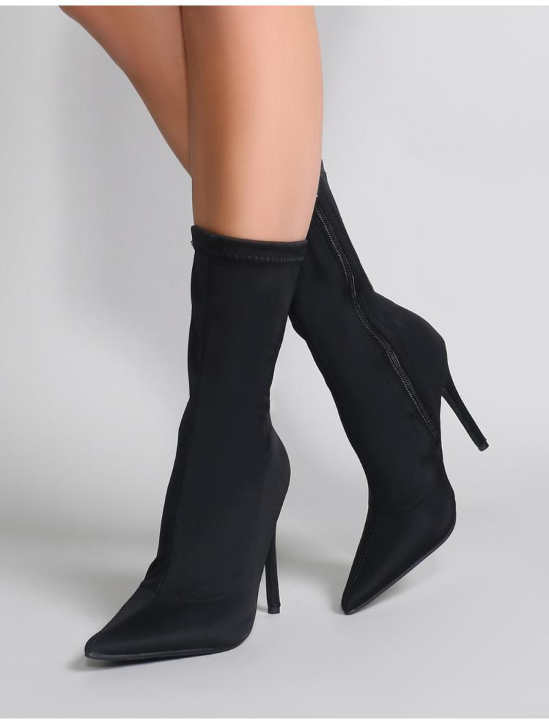 edf108541cd Lyst - Public Desire Direct Pointy Sock Boots In Black Stretch in Black -  Save 51%