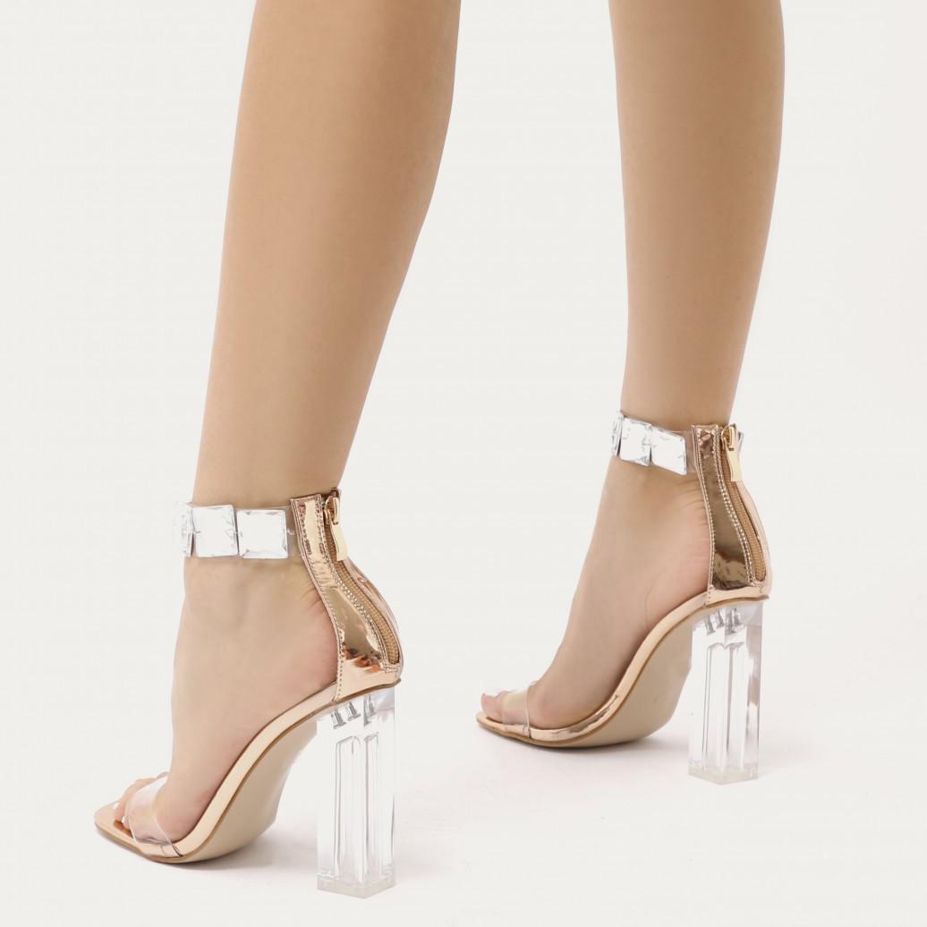 241aa454d9 Public Desire Spirit Square Gem Strap Perspex High Heels In Rose ...