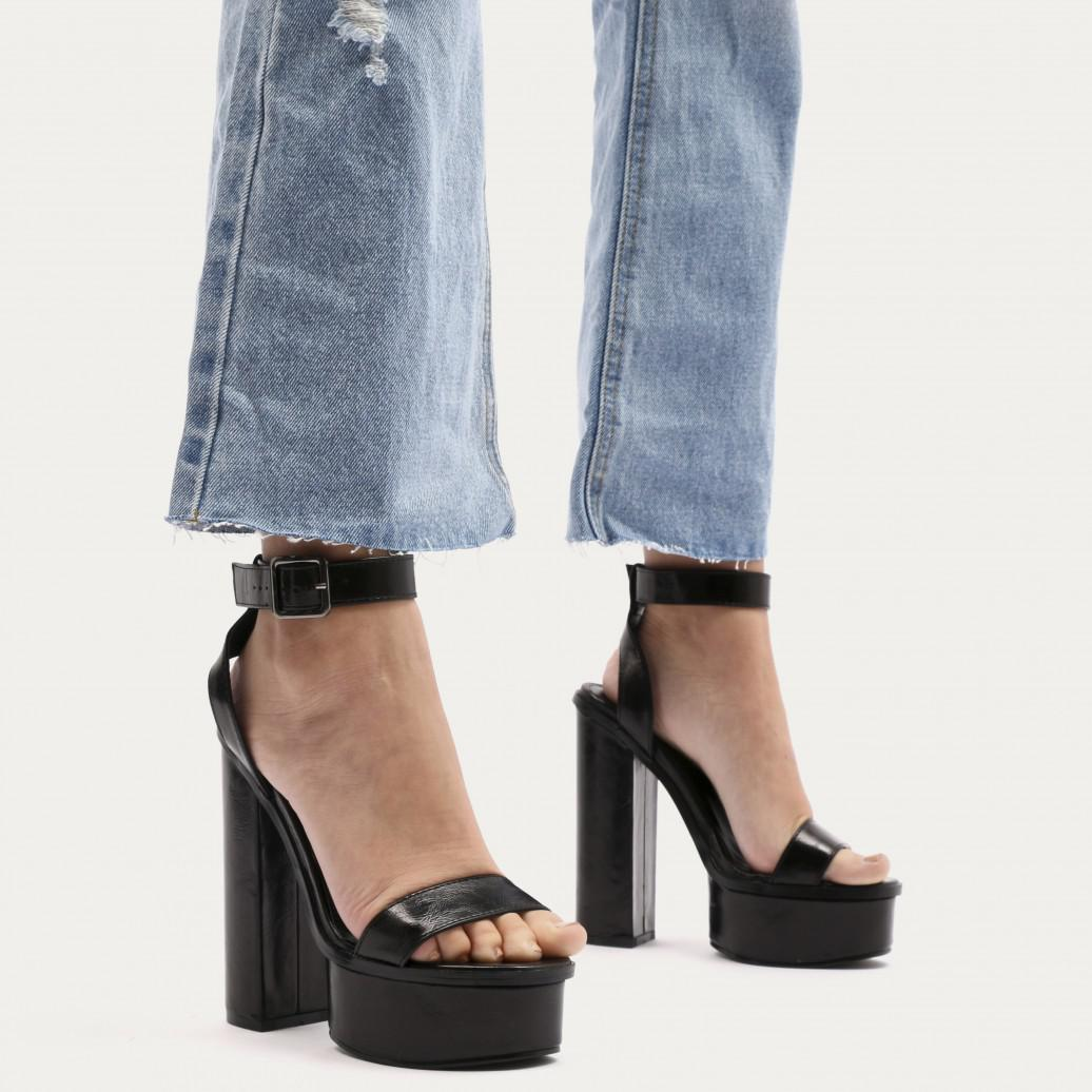926985485d1c Lyst - Public Desire Valencia Metallic Platform Heels With Trim In ...