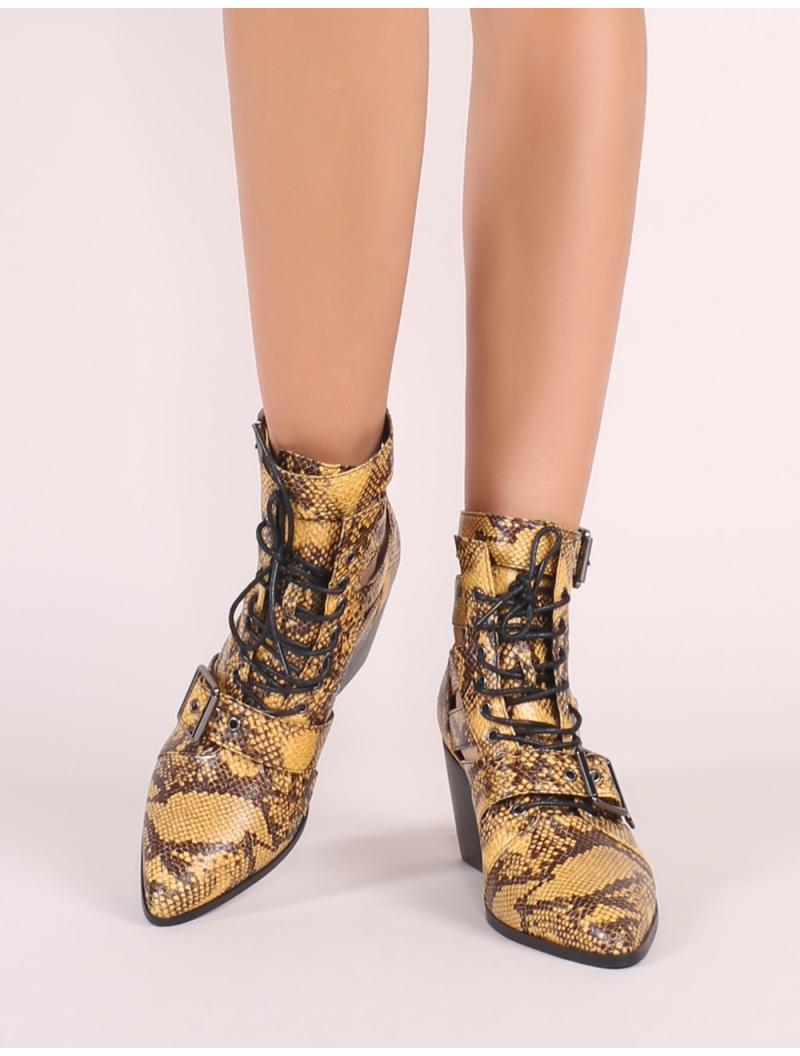 62002f72f75 Lyst - Public Desire Zara Lace Up Ankle Boots In Yellow Snake Print in  Yellow