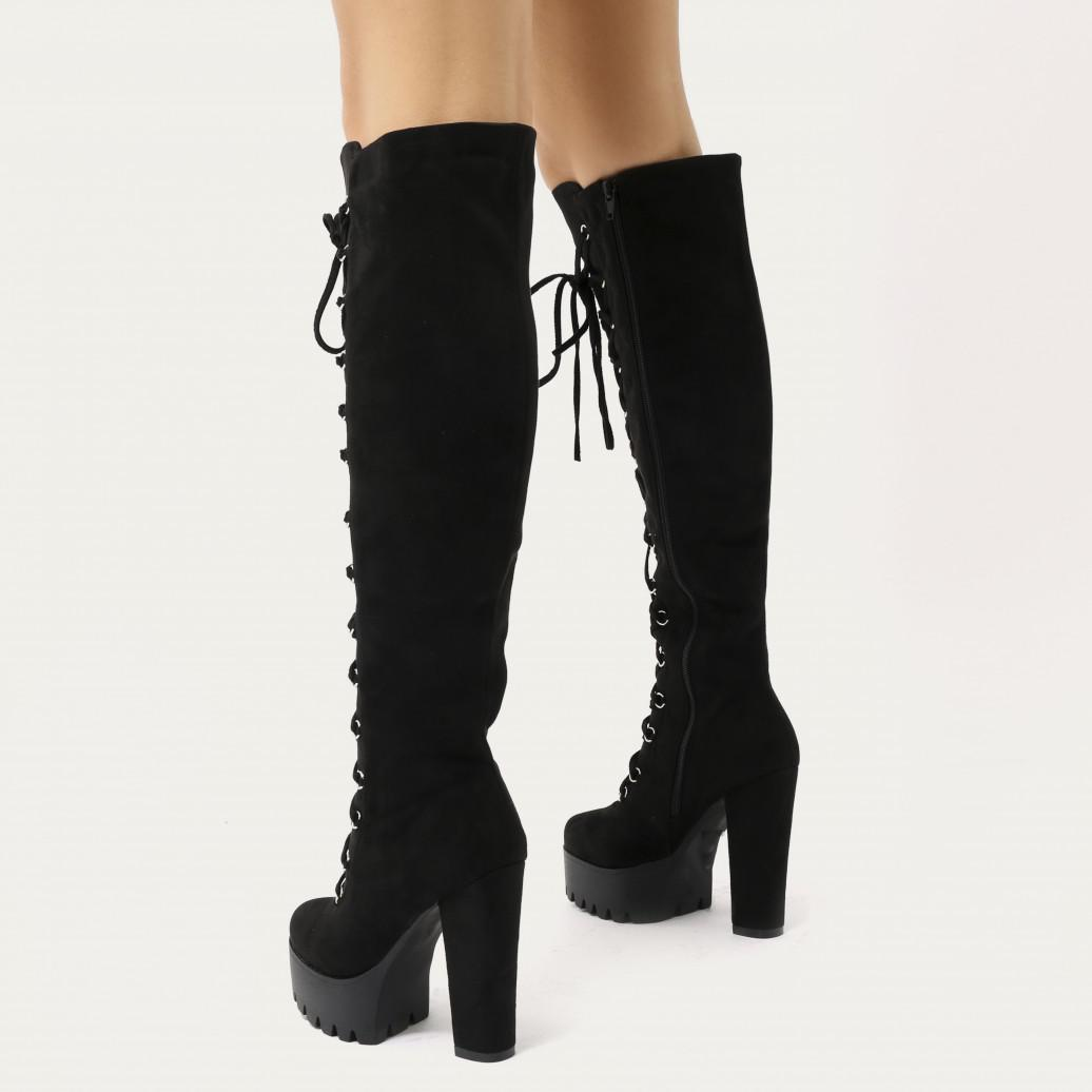 d2967e0263b7 Lyst - Public Desire Kadie Lace Up Knee High Platform Boots In Black ...