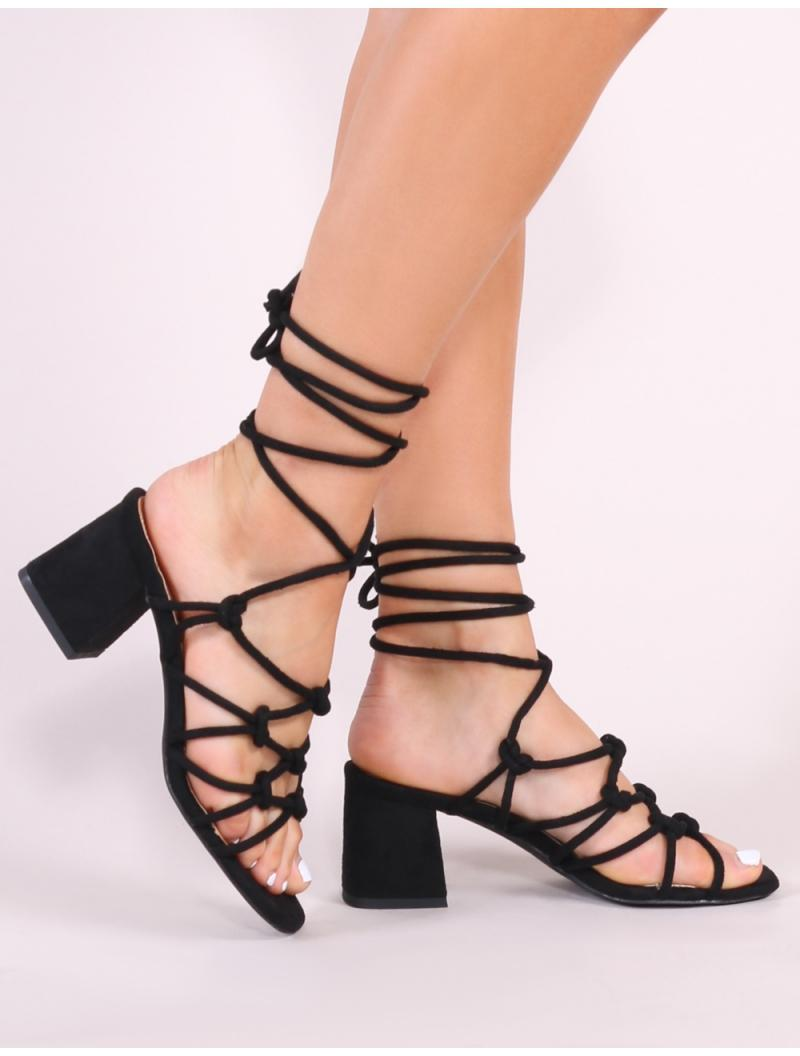 48a98094efe855 Public Desire. Women s Freya Knotted Strappy Block Heeled Sandals In Black  Faux Suede