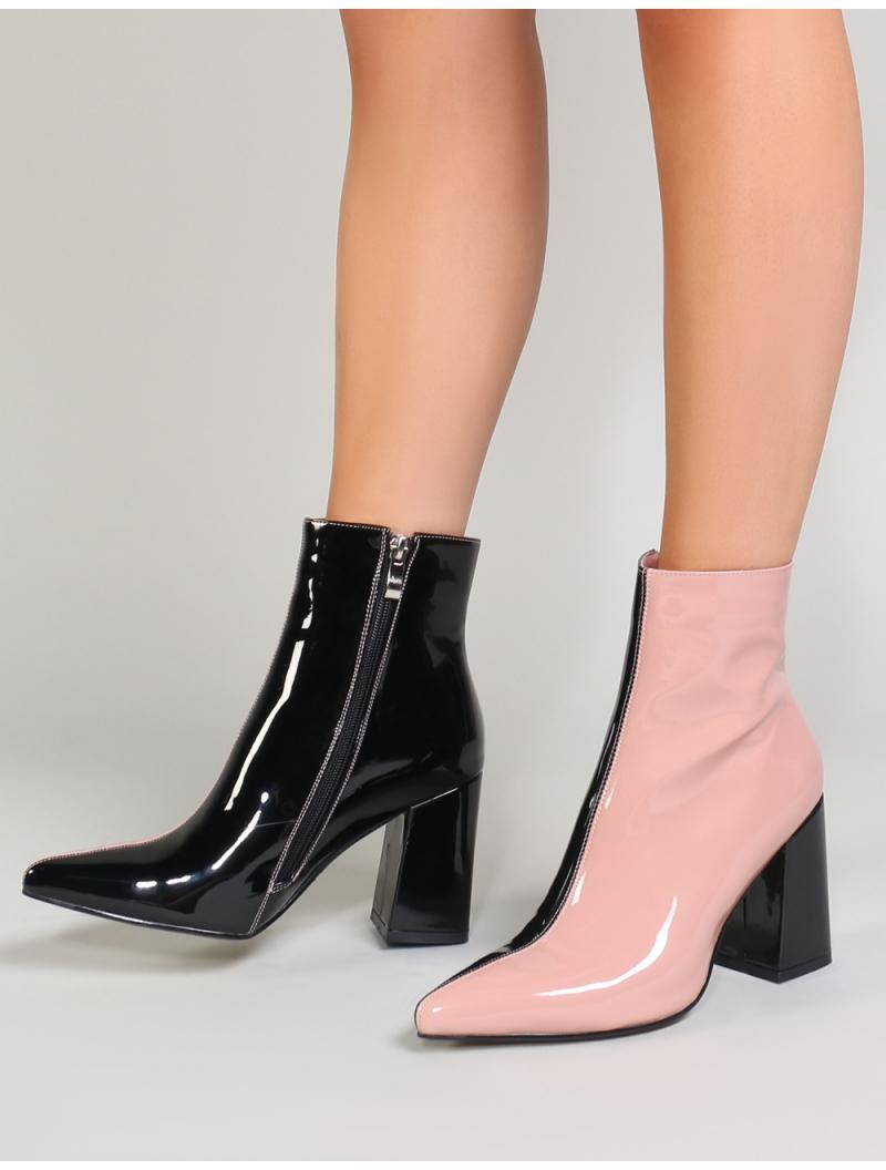 11da82319b9f Lyst - Public Desire Chaos Contrast Pointed Toe Ankle Boots In Black And  Pink Patent in Black