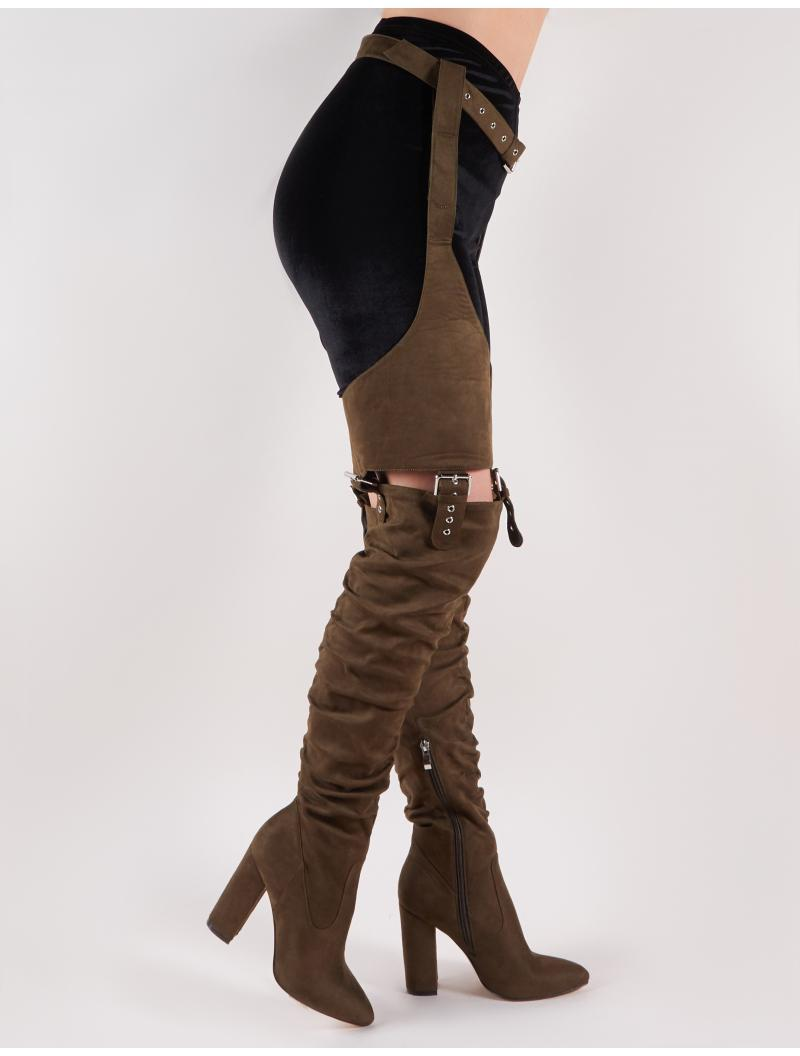 761432d0a9f Public Desire Sterling Belted Over The Knee Boots In Khaki Faux Suede - Lyst