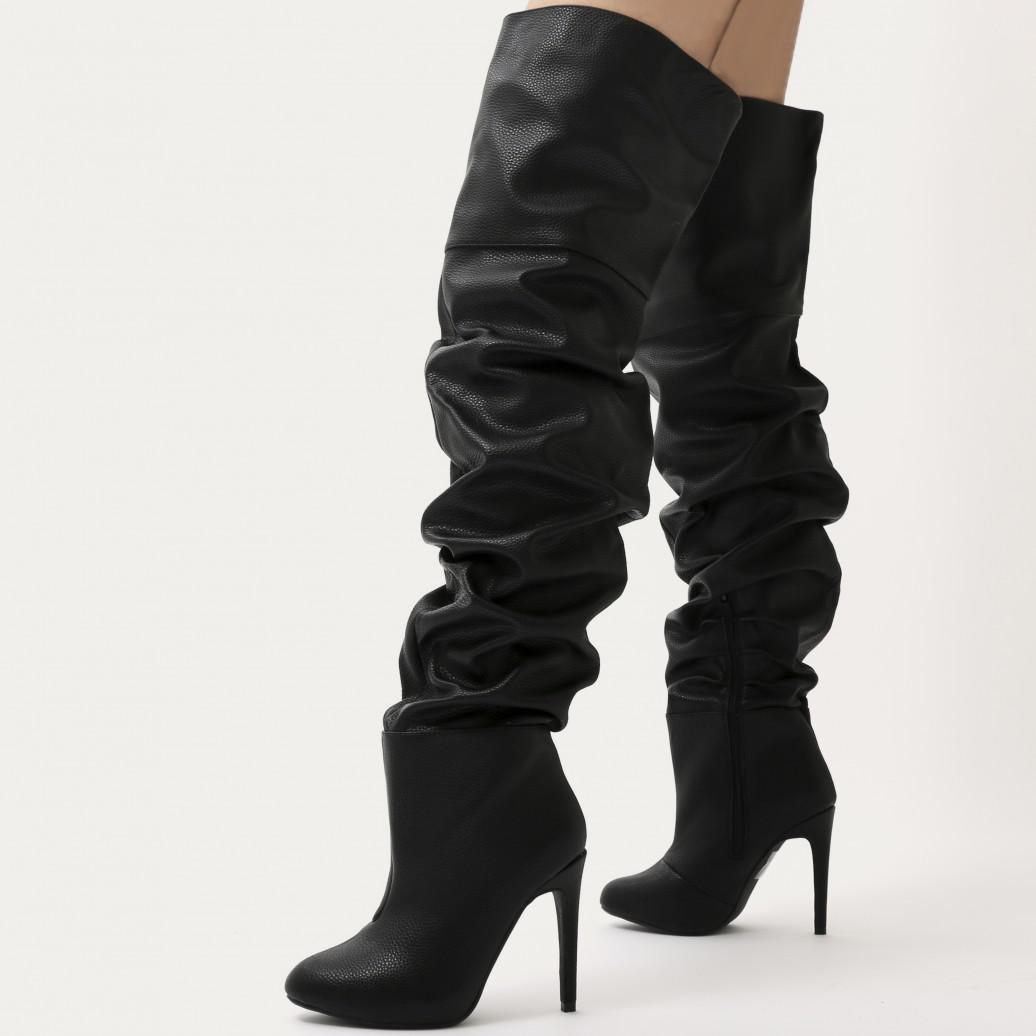 3fb8b5ed4bd Lyst - Public Desire Ciara Over The Knee Slouch Boots In Black in Black