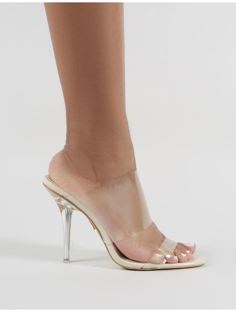 0646ba6461b Public Desire - Natural Boujee Perspex Heel Mules In Nude - Lyst. View  fullscreen