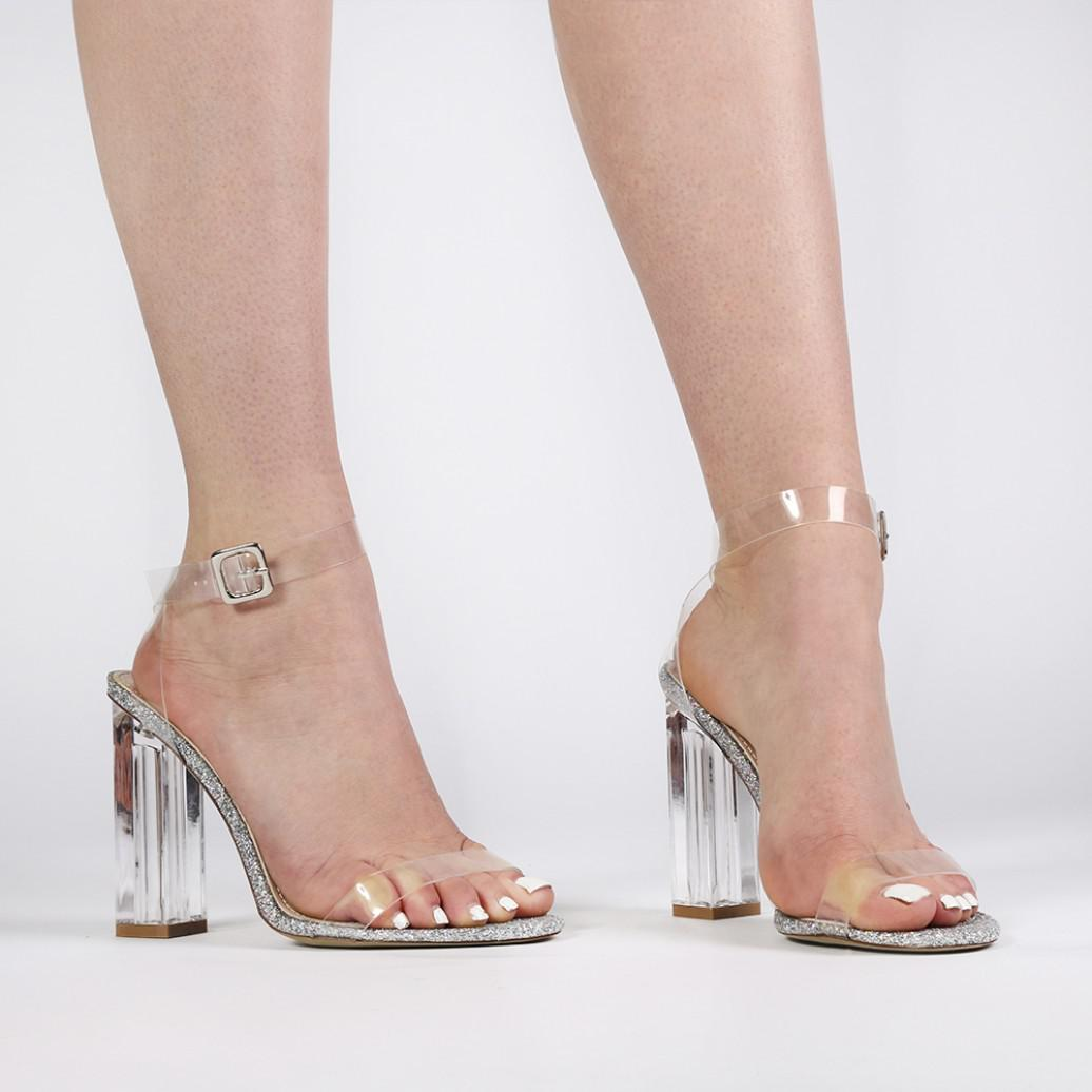 ca0dd78f1e6 Public Desire Alia Strappy Perspex High Heels In Clear Glitter - Lyst
