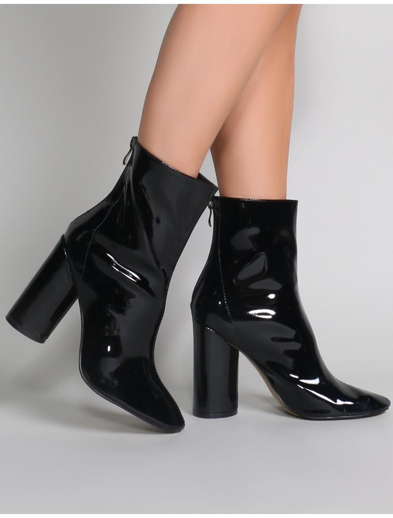674f07f9341 Lyst - Public Desire Impact Round Block Heel Ankle Boots In Black ...