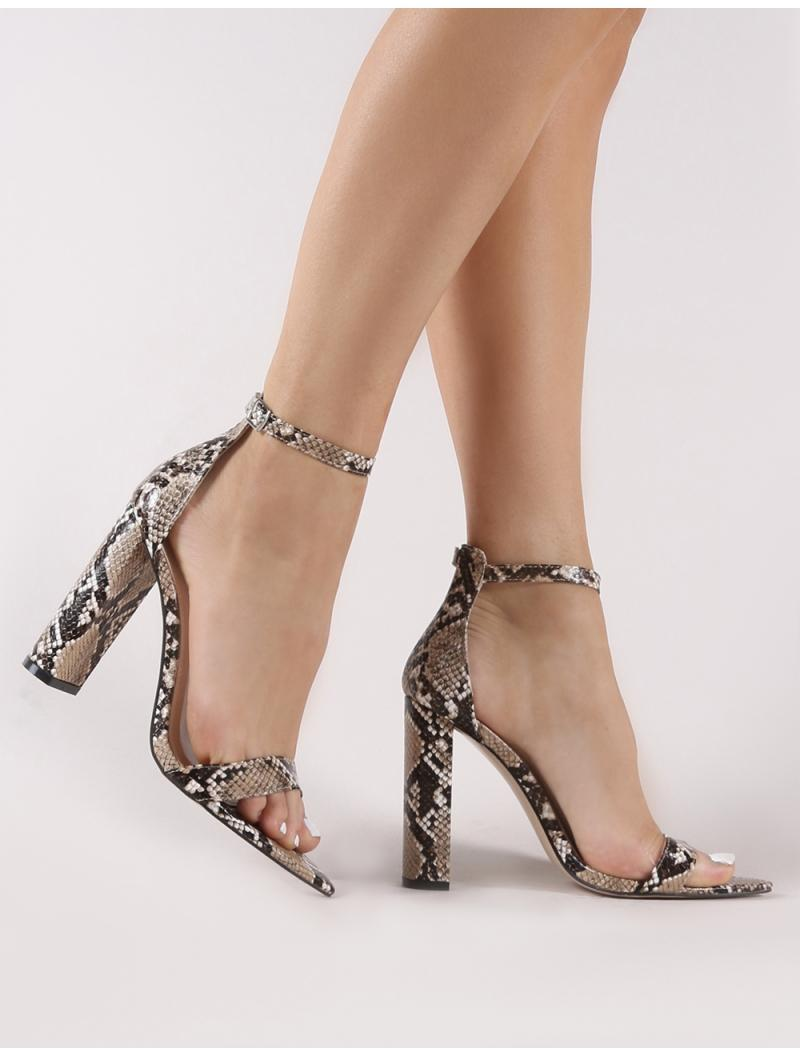 944128de96c Lyst - Public Desire Miao Pointed Barely There Heels In Snake Print