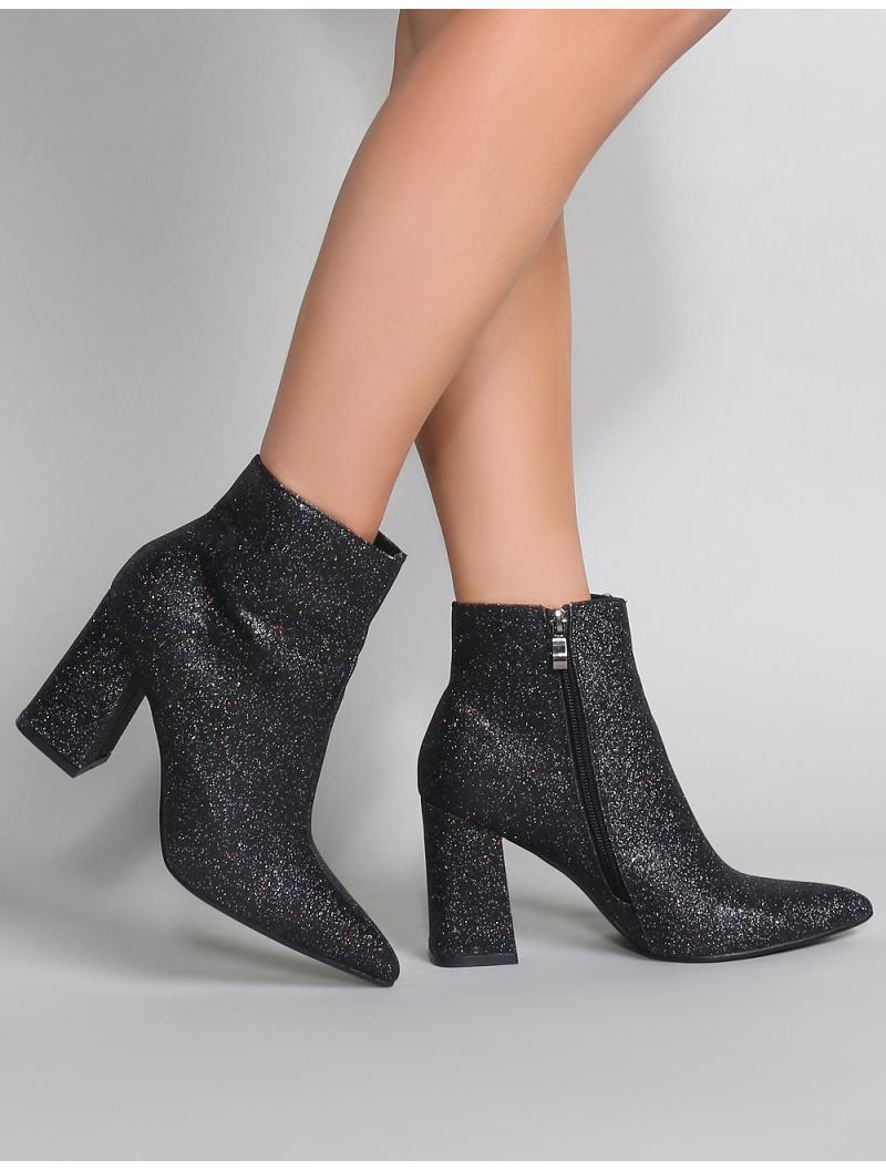 d6c9ff7619a Lyst - Public Desire Empire Pointed Toe Ankle Boots In Black Glitter ...