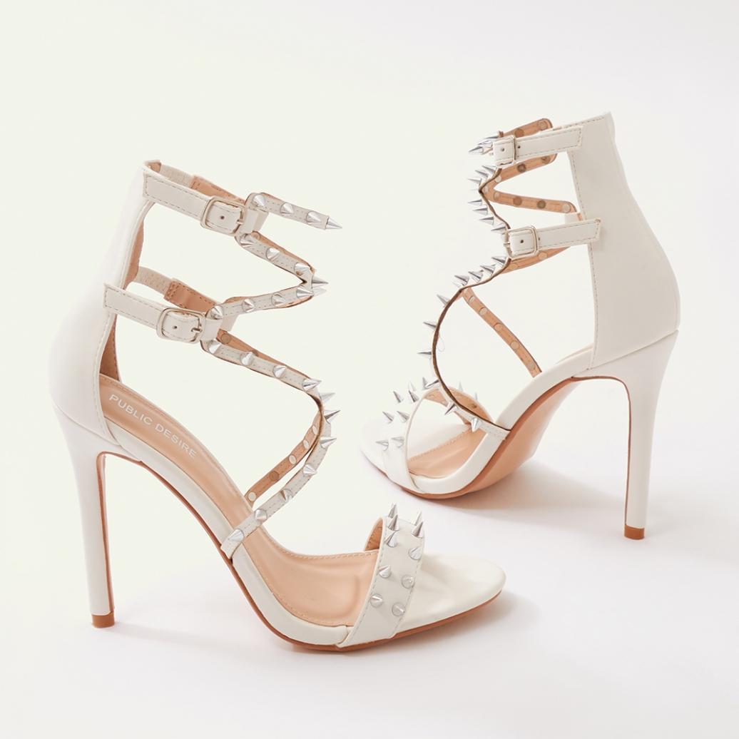 fe1d526f32a4 Lyst - Public Desire Amore Spiky Heels In White in White