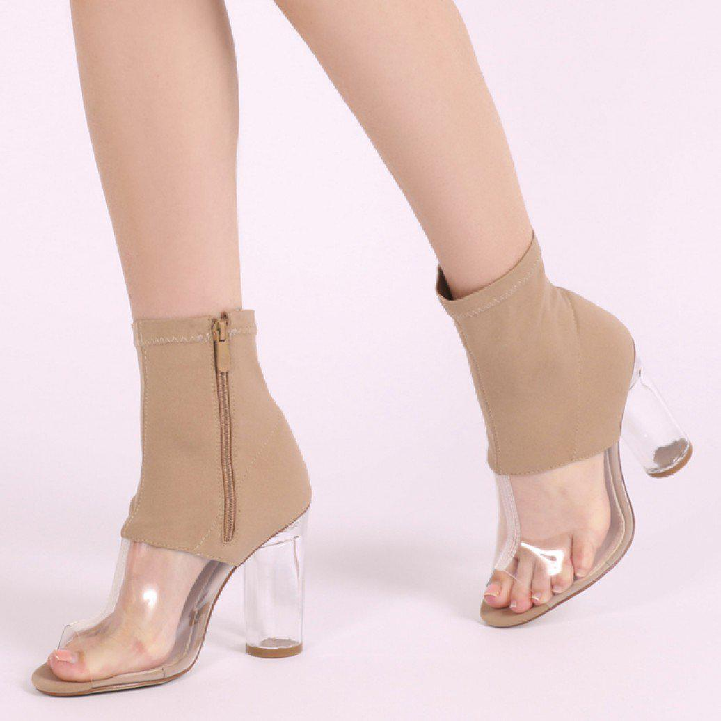 edc37f4039a4 Public Desire - Natural Cristal Perspex Detail Clear Heel Ankle Boots In  Nude Stretch - Lyst