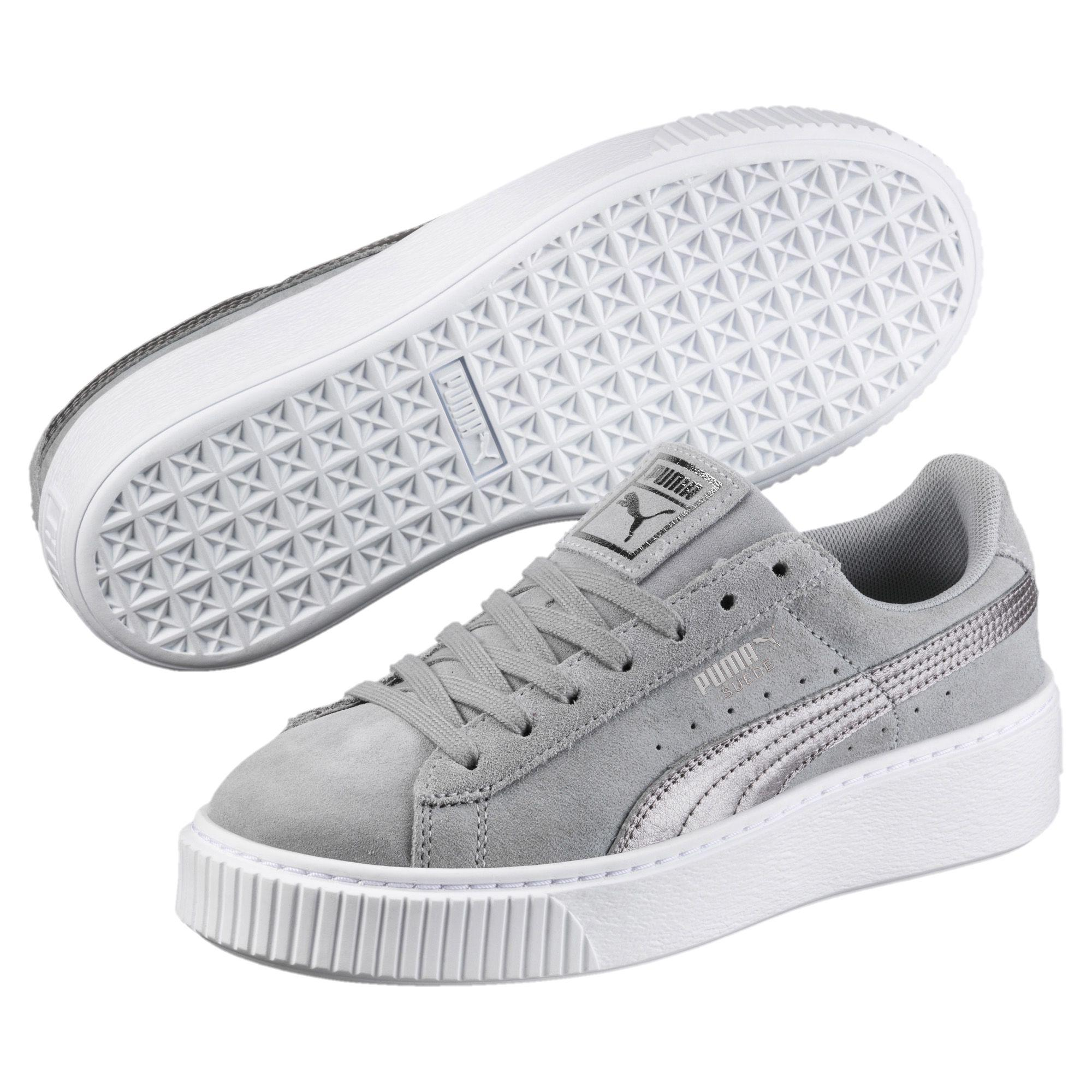 Lyst - PUMA Suede Platform Metallic Safari Women s Sneakers in Gray aa77e407e