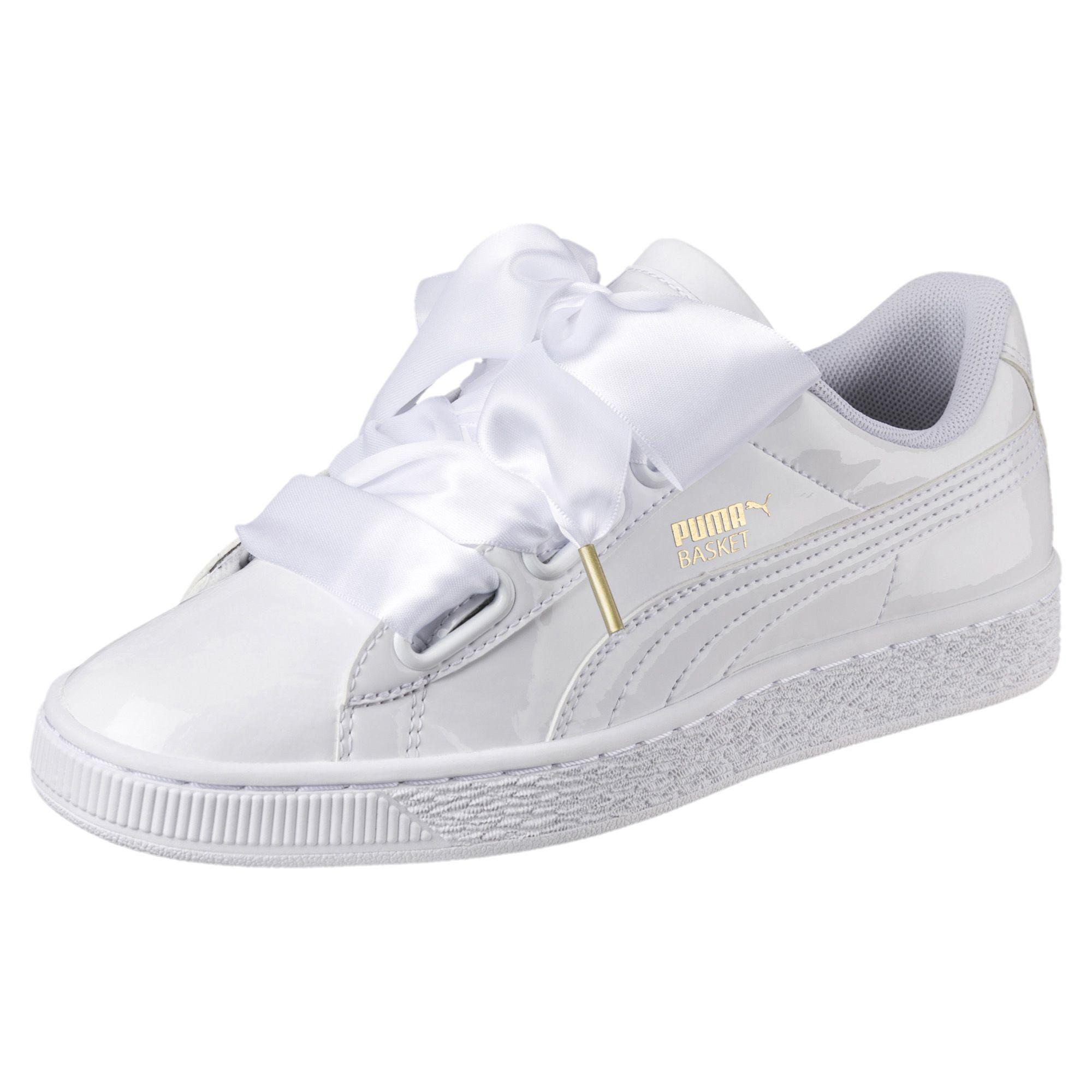 Lyst - PUMA Basket Heart Patent Women s Sneakers in White 3955f35f3