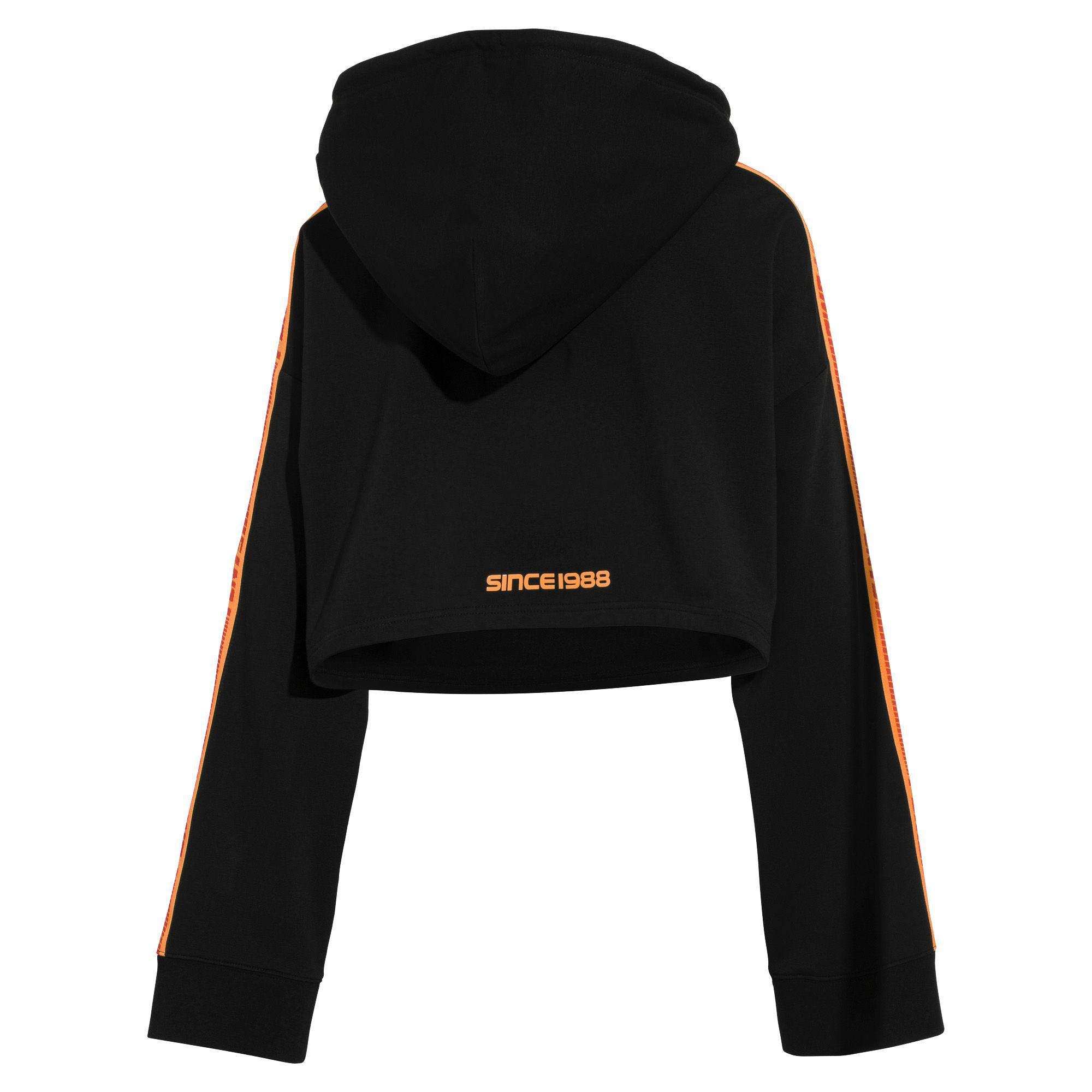 4653bd765e2 PUMA Fenty Women s Long Sleeve Cropped Hoodie in Black - Lyst