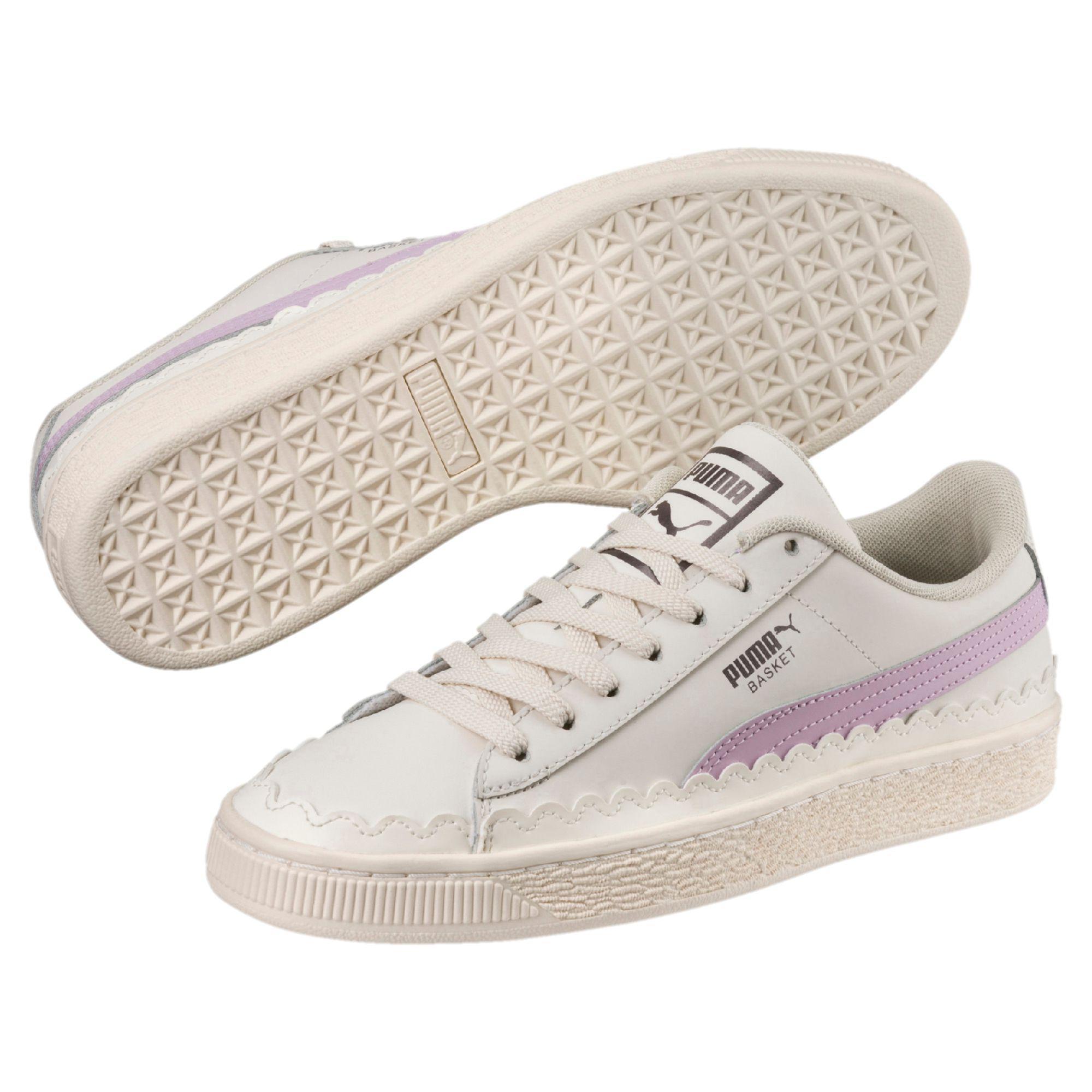 Lyst - PUMA Basket Scallop Women s Sneakers in White 21bfb323e149