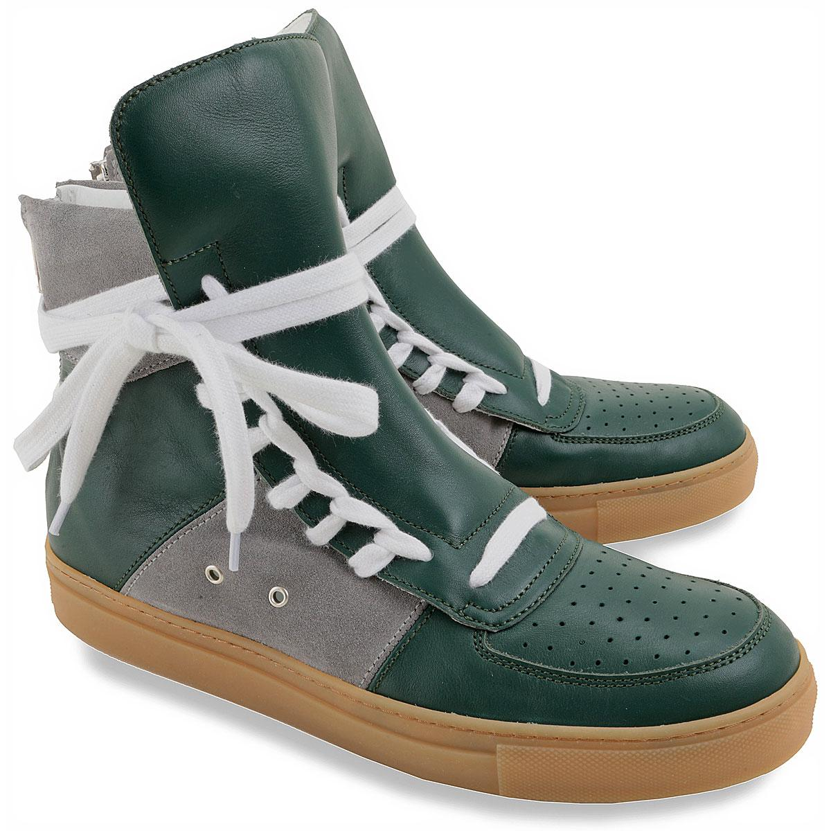 17b97967b298dd Lyst - Kris Van Assche Green Leather Overlong Laces High top ...