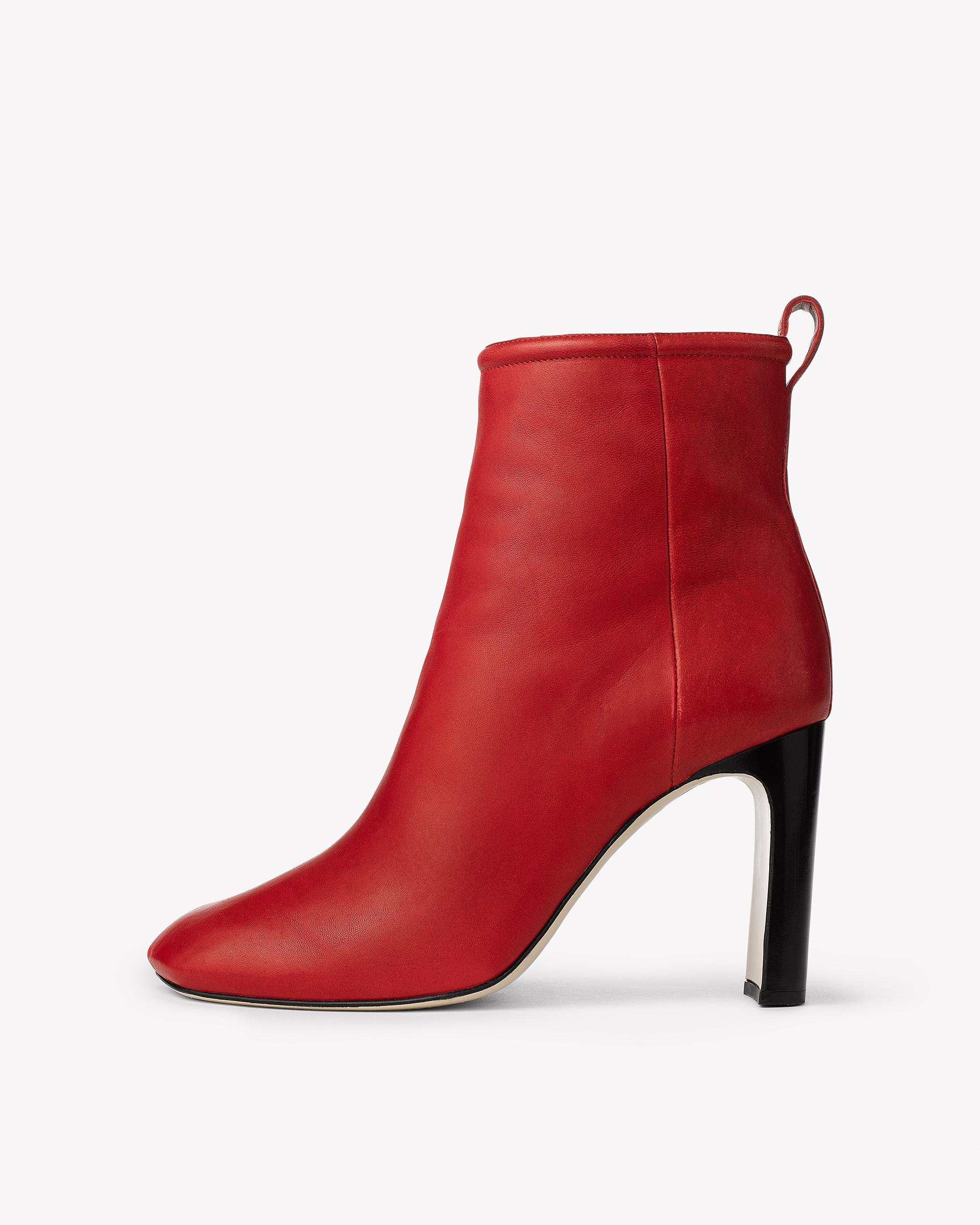 Rag & Bone. Women's Red Ellis Leather Ankle Boots