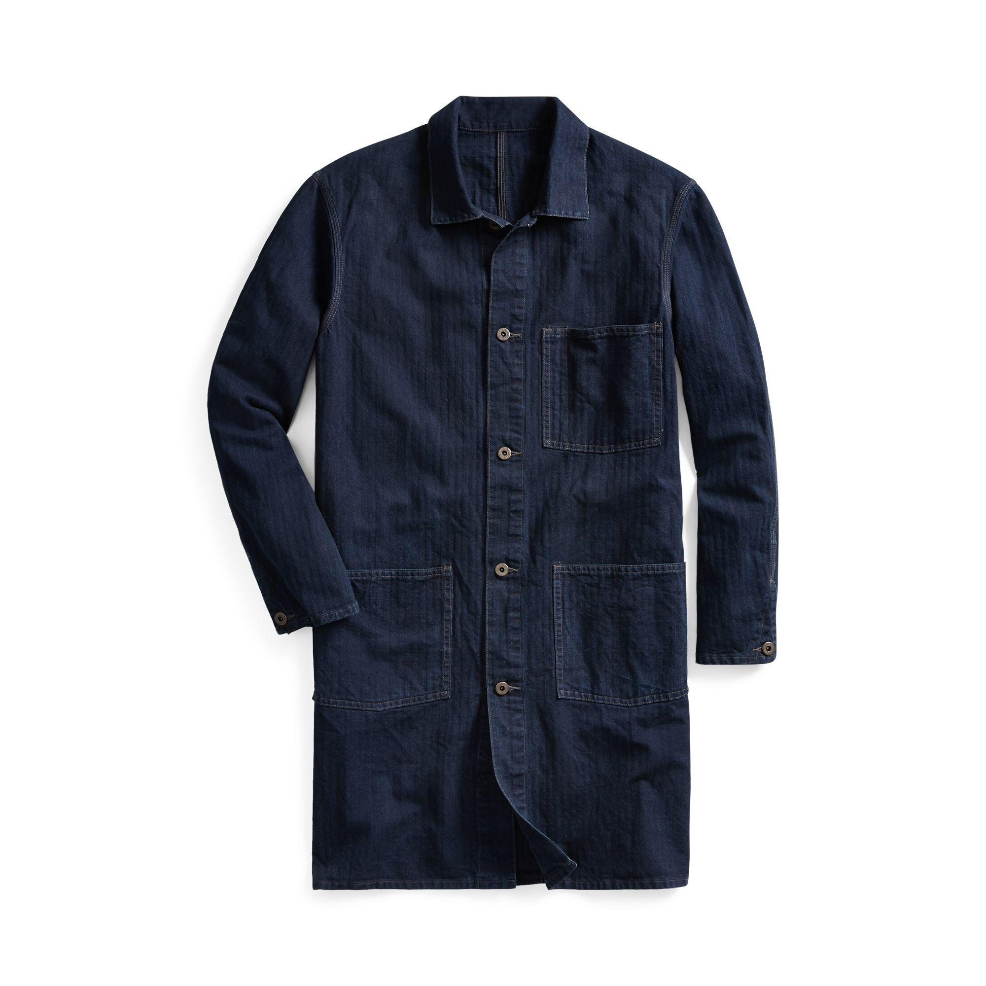 3c5c691e05 Lyst - RRL Indigo Cotton-linen Shop Coat in Blue for Men