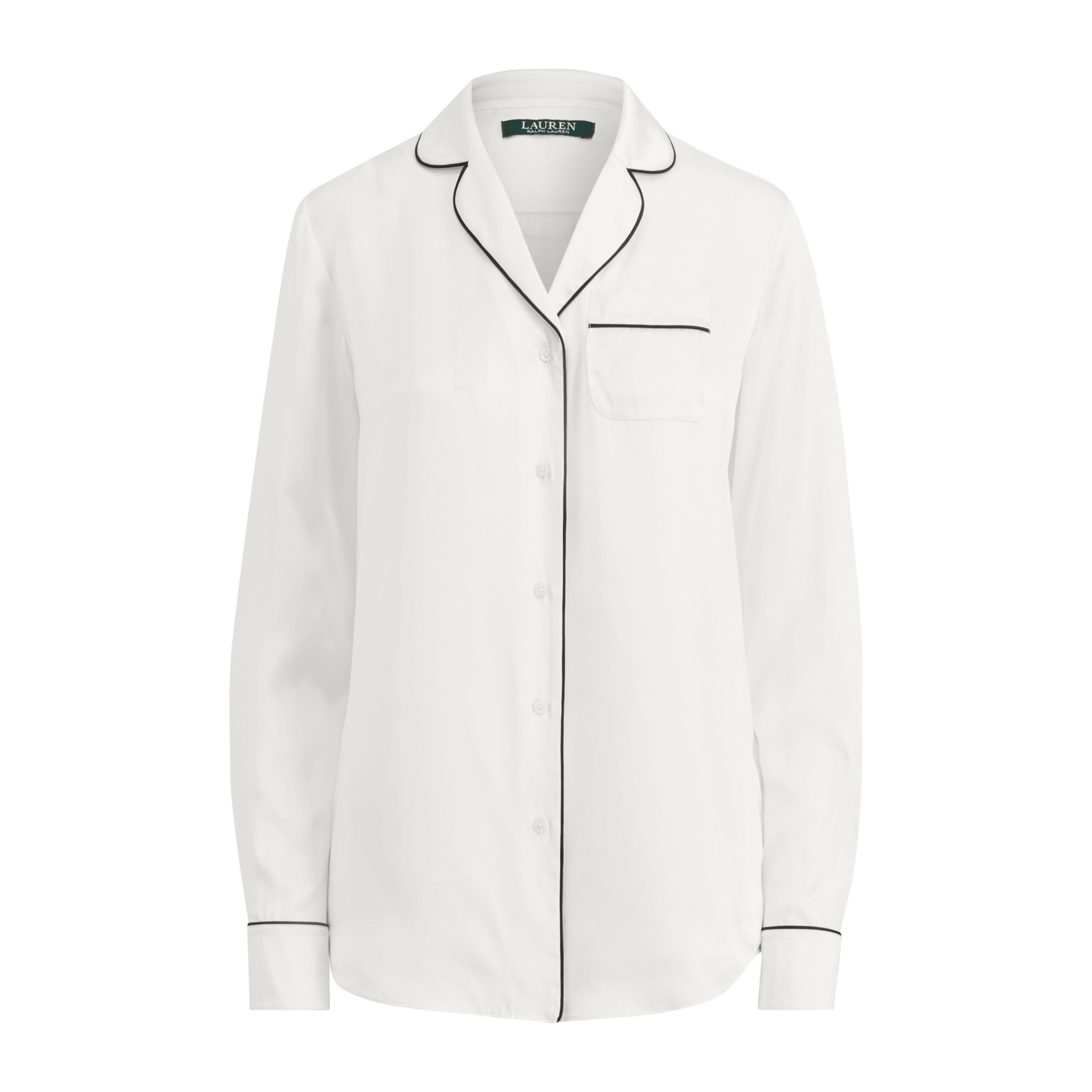 57691fdf9d Lyst - Ralph Lauren Silk Charmeuse Pajama Shirt in White