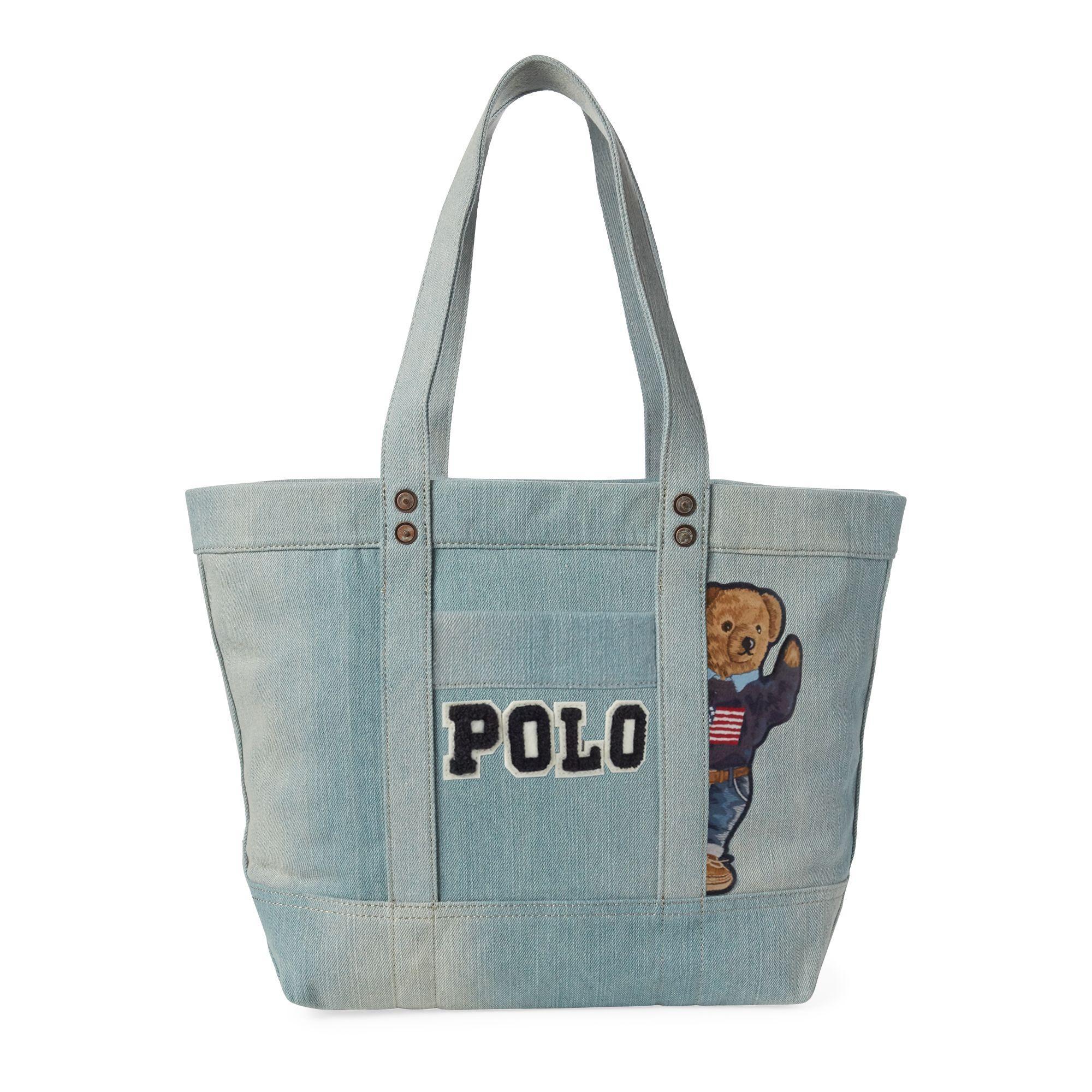 Lyst - Polo Ralph Lauren Canvas Polo Bear Tote Bag in Blue fe05d5ae41