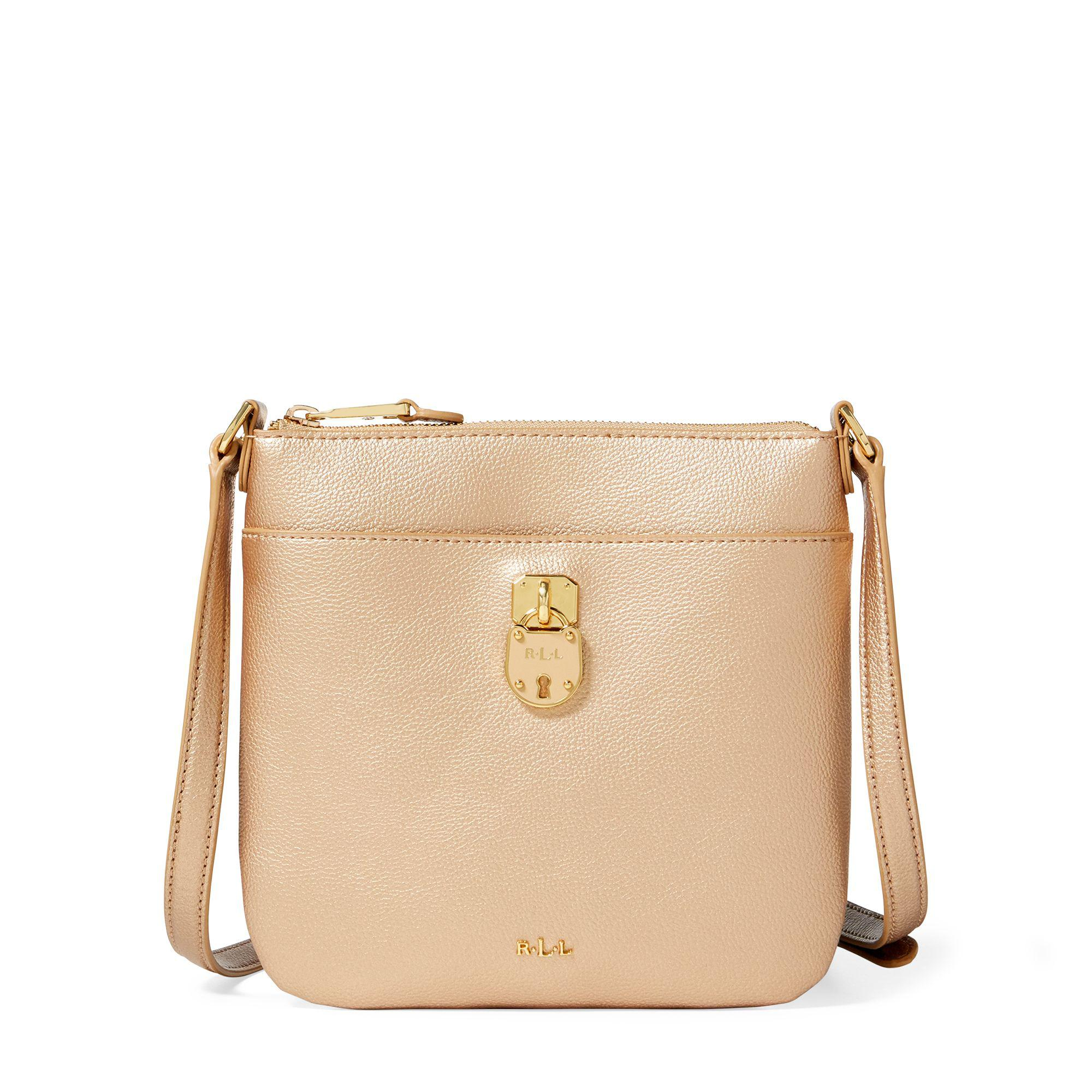 7af4aa8085 Lyst - Ralph Lauren Pebbled Lila Crossbody Bag in Natural