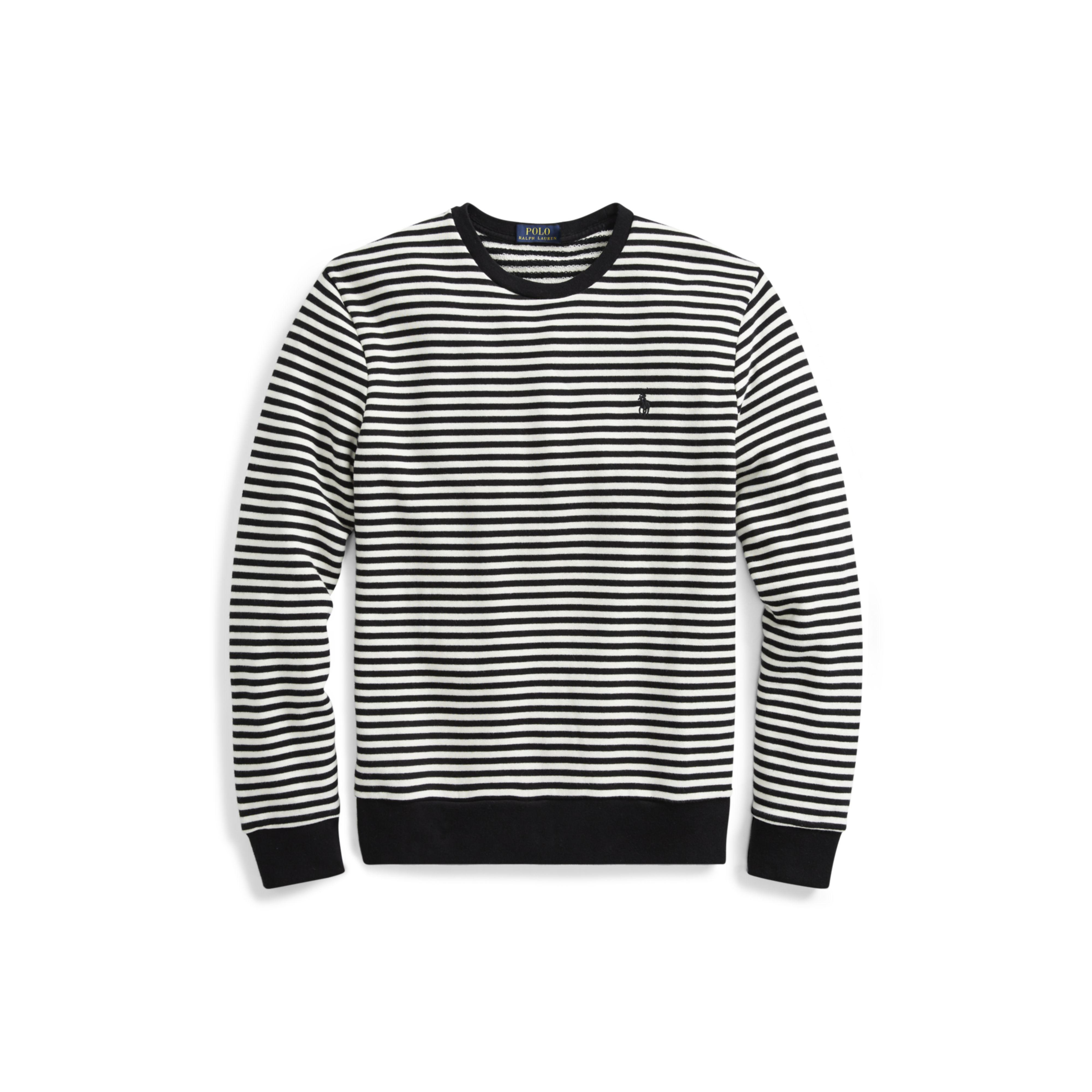 9daf5a277f4ba Polo Ralph Lauren Striped Cotton Terry Pullover in Black for Men - Lyst