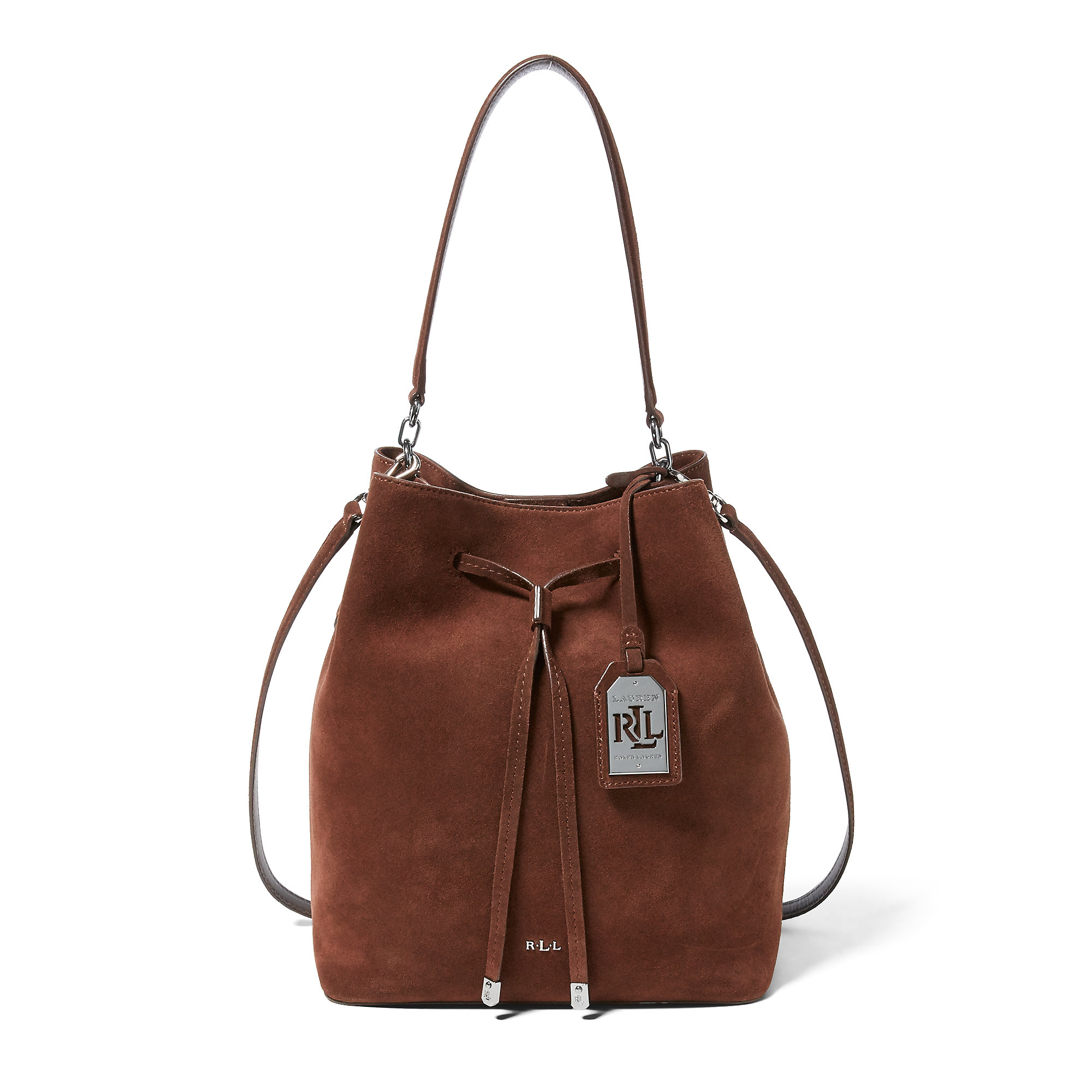 db89ea12e220 Lyst - Ralph Lauren Suede Debby Drawstring Tote in Brown