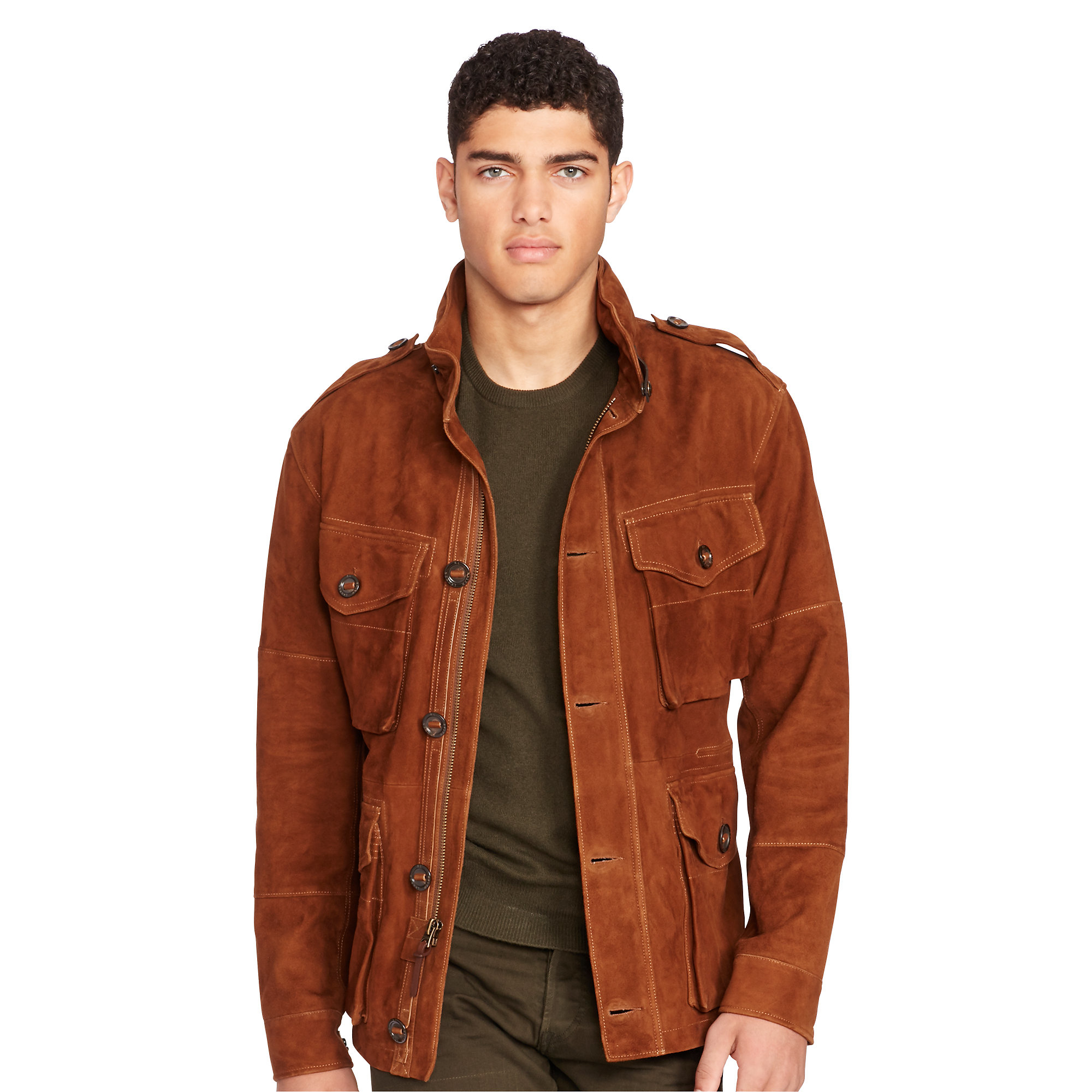 lyst polo ralph lauren suede combat jacket in brown for men. Black Bedroom Furniture Sets. Home Design Ideas