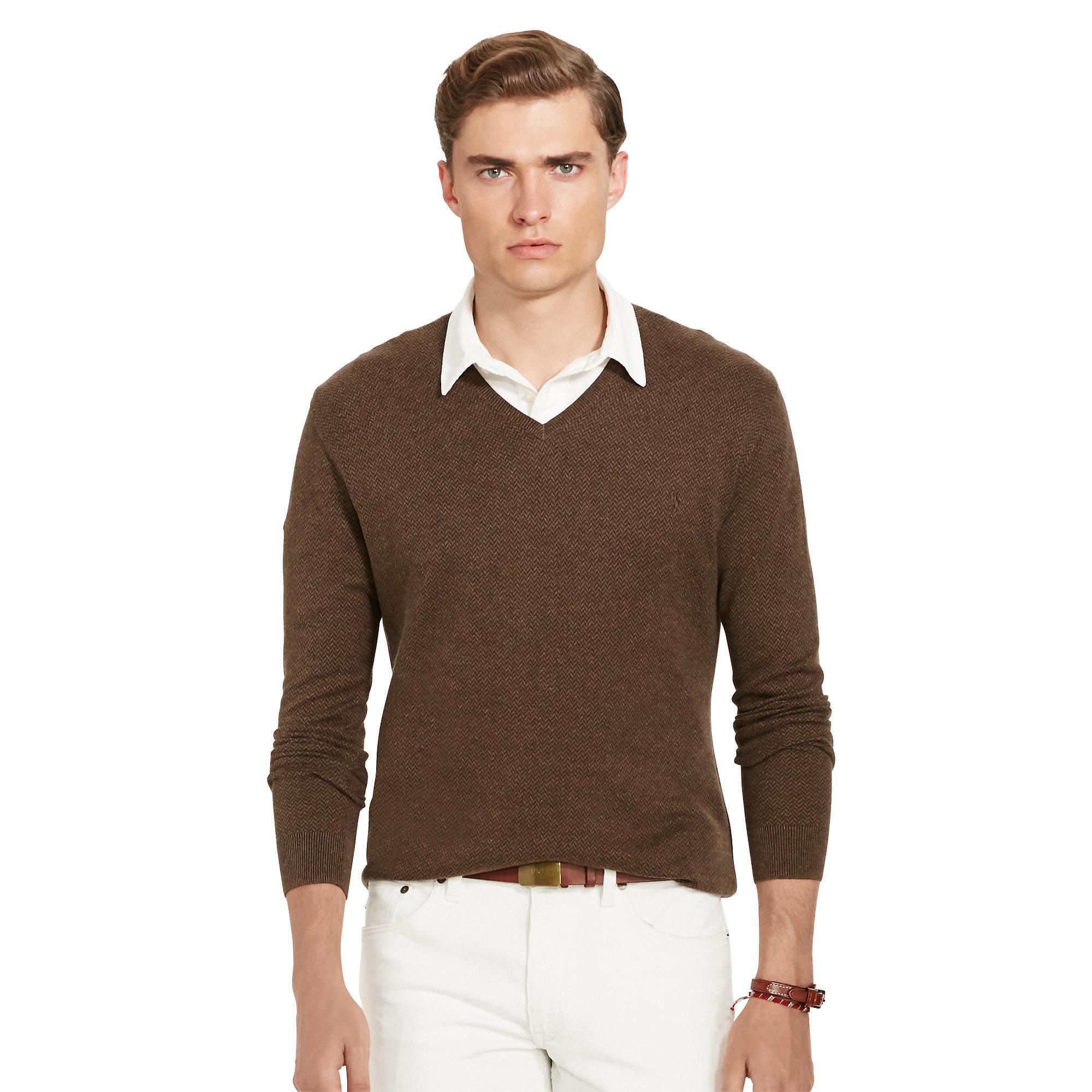 Polo ralph lauren sweater crew neck pima cotton sweater for Crew neck sweater with collared shirt