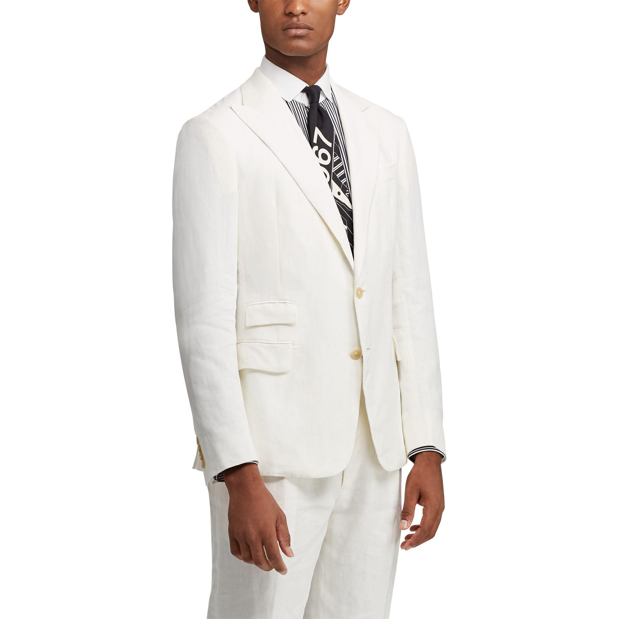 Ralph Lauren Purple Label Linen Suit Jacket In White For
